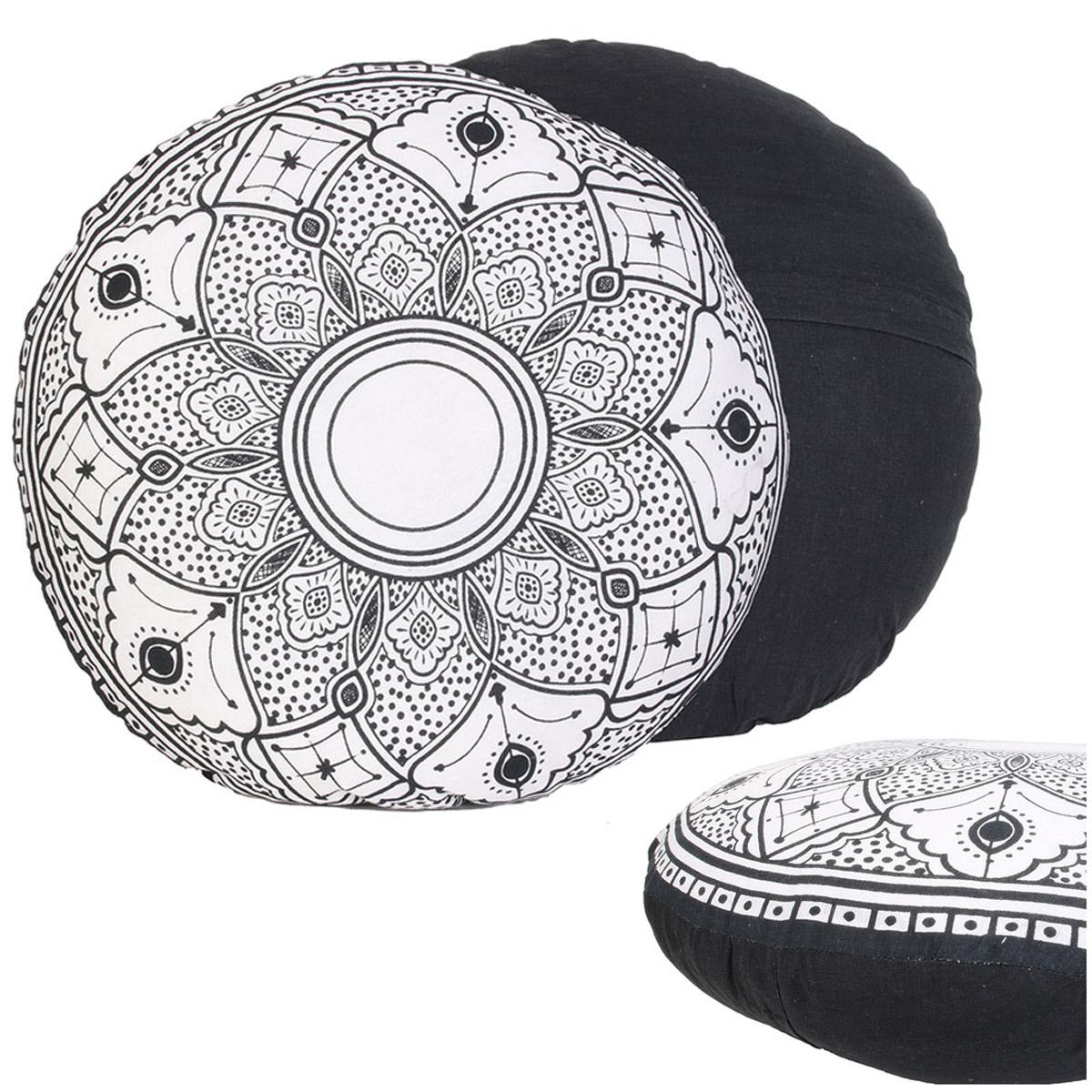 Coussin coton \'Mandala\' noir blanc - 40 cm - [R2507]