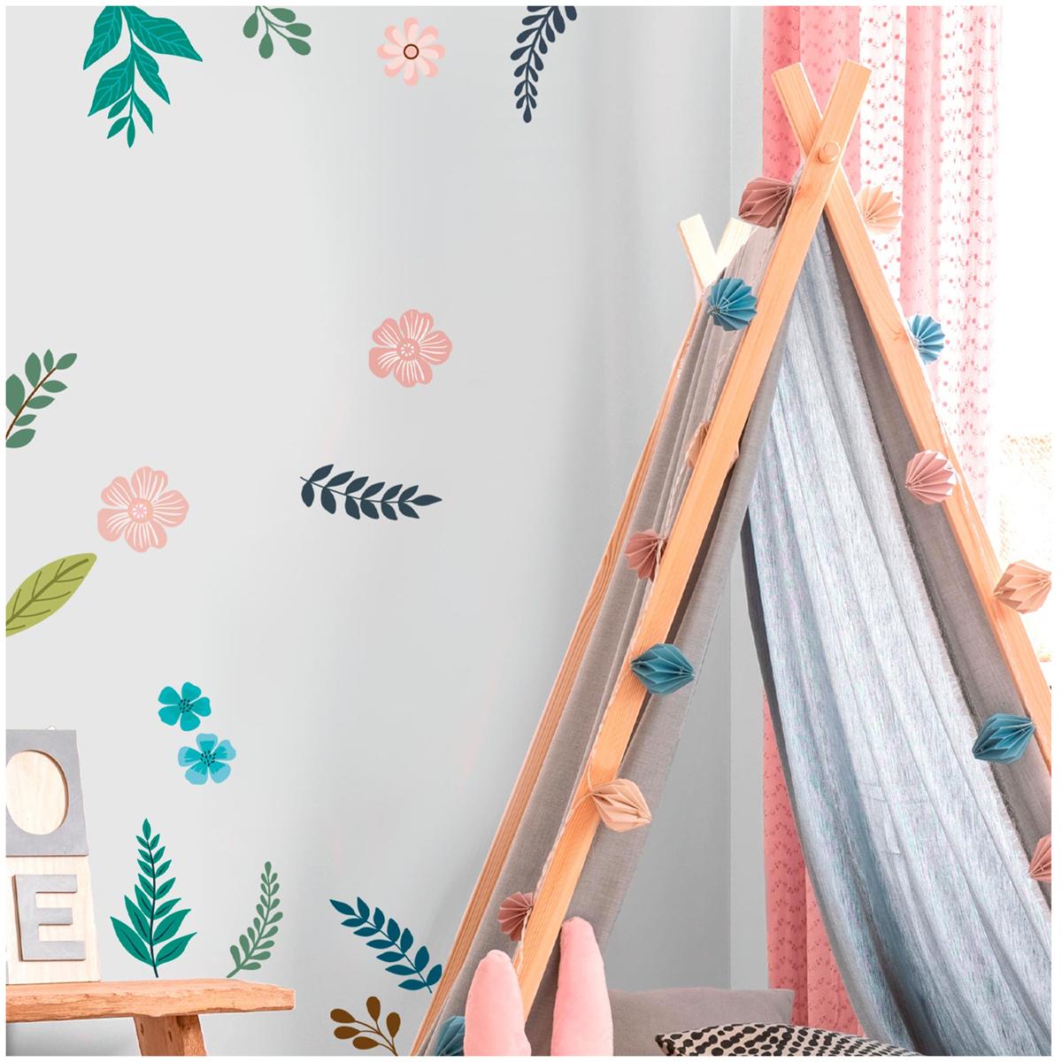 Planche de stickers \'Ambiance Florale\' vert rose - 20x70 cm - [R3394]