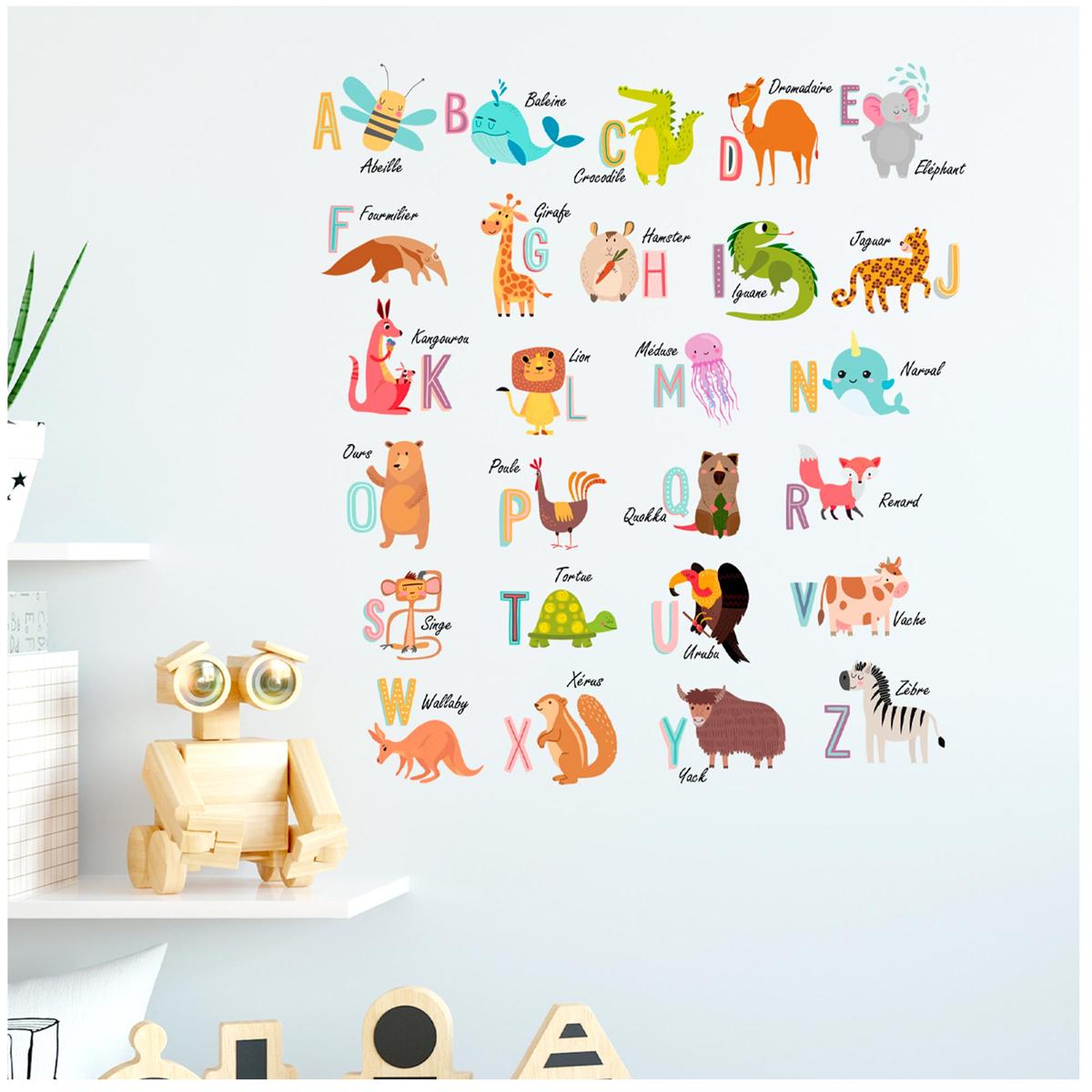 Planche de stickers \'Alphabet Animaux\' multicolore - 50x70 cm - [R3407]