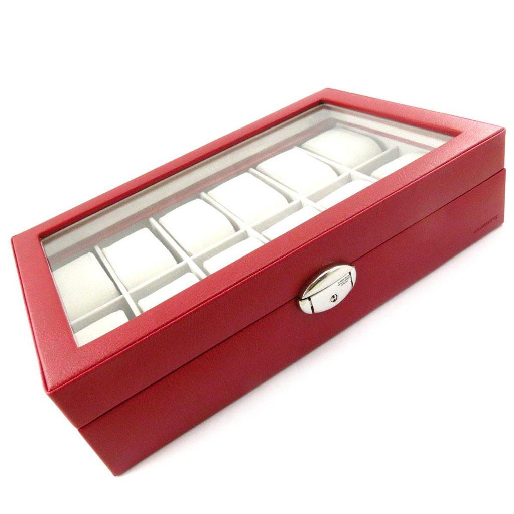 Coffret montres \'Munich\' rouge (12 montres) - 33x9x22 cm - [J7783]