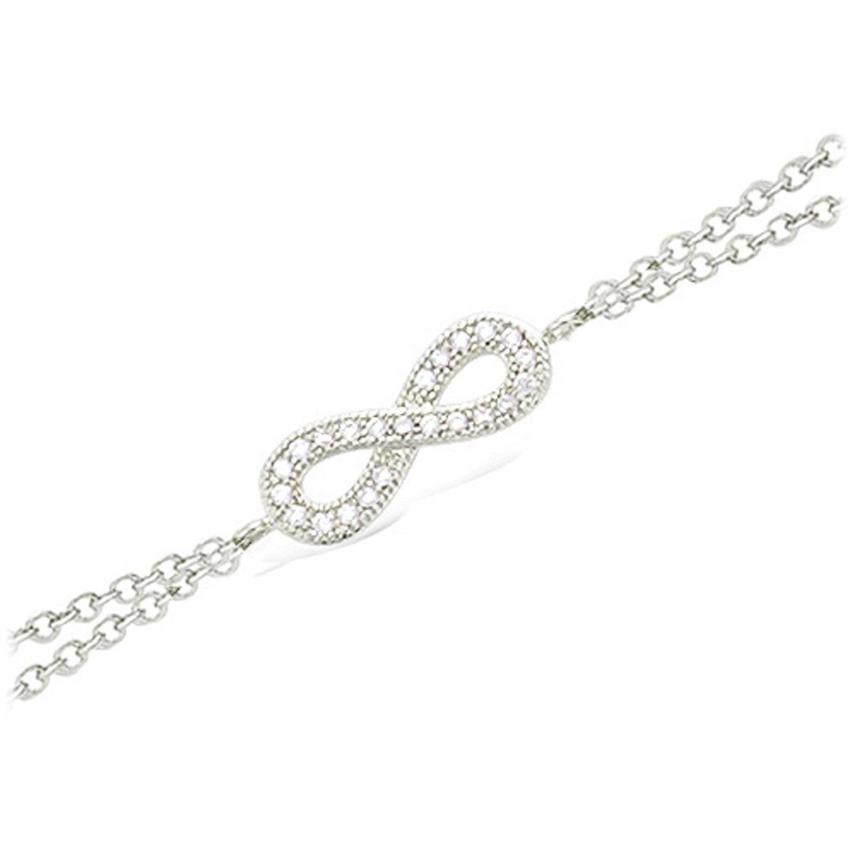 Bracelet bague argent \'Infini\' blanc argenté (rhodié) - 14x5 mm - [L1273]