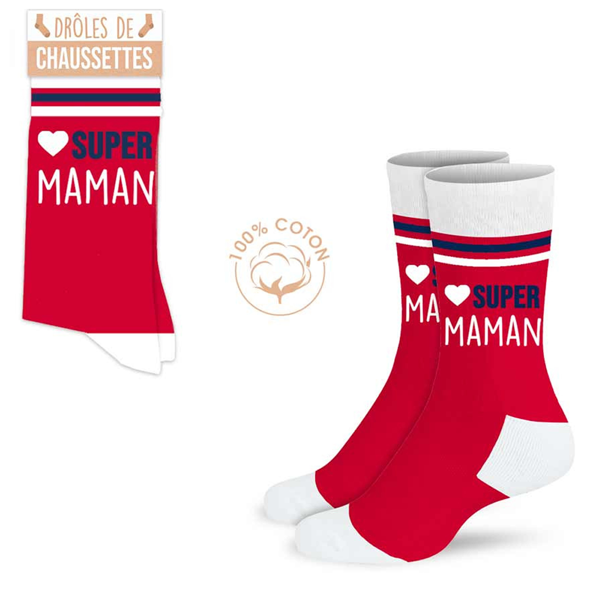 Chaussettes coton tendresse \'Super Maman\' rouge - taille unique - [A0913]