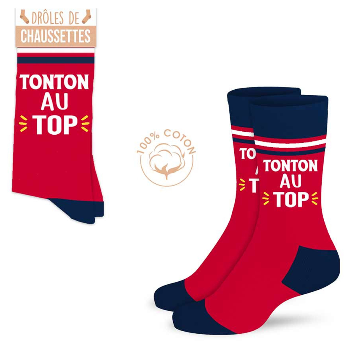 Chaussettes coton tendresse \'Tonton au top\' rouge bleu - taille unique - [A0915]