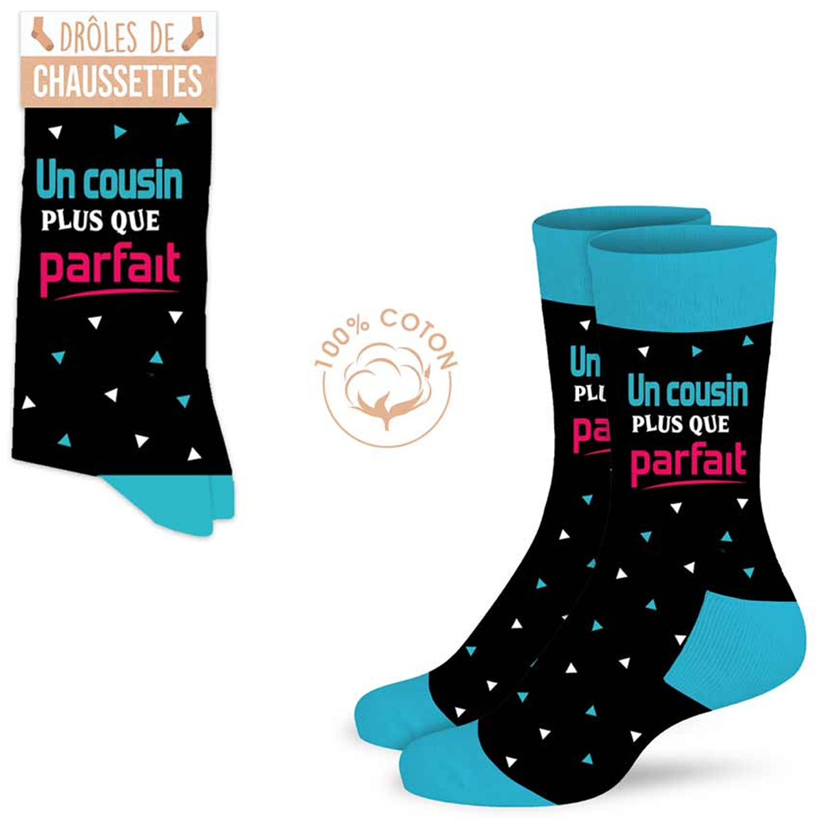Chaussettes coton tendresse \'Cousin\' noir bleu (un Cousin plus que parfait) - taille unique - [A0917]