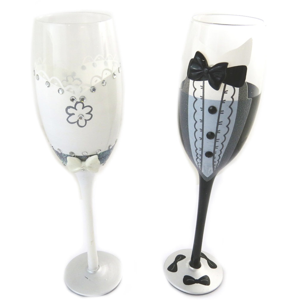 2 coupes flutes à champagne \'Mariage\' blanc noir - [N6144]