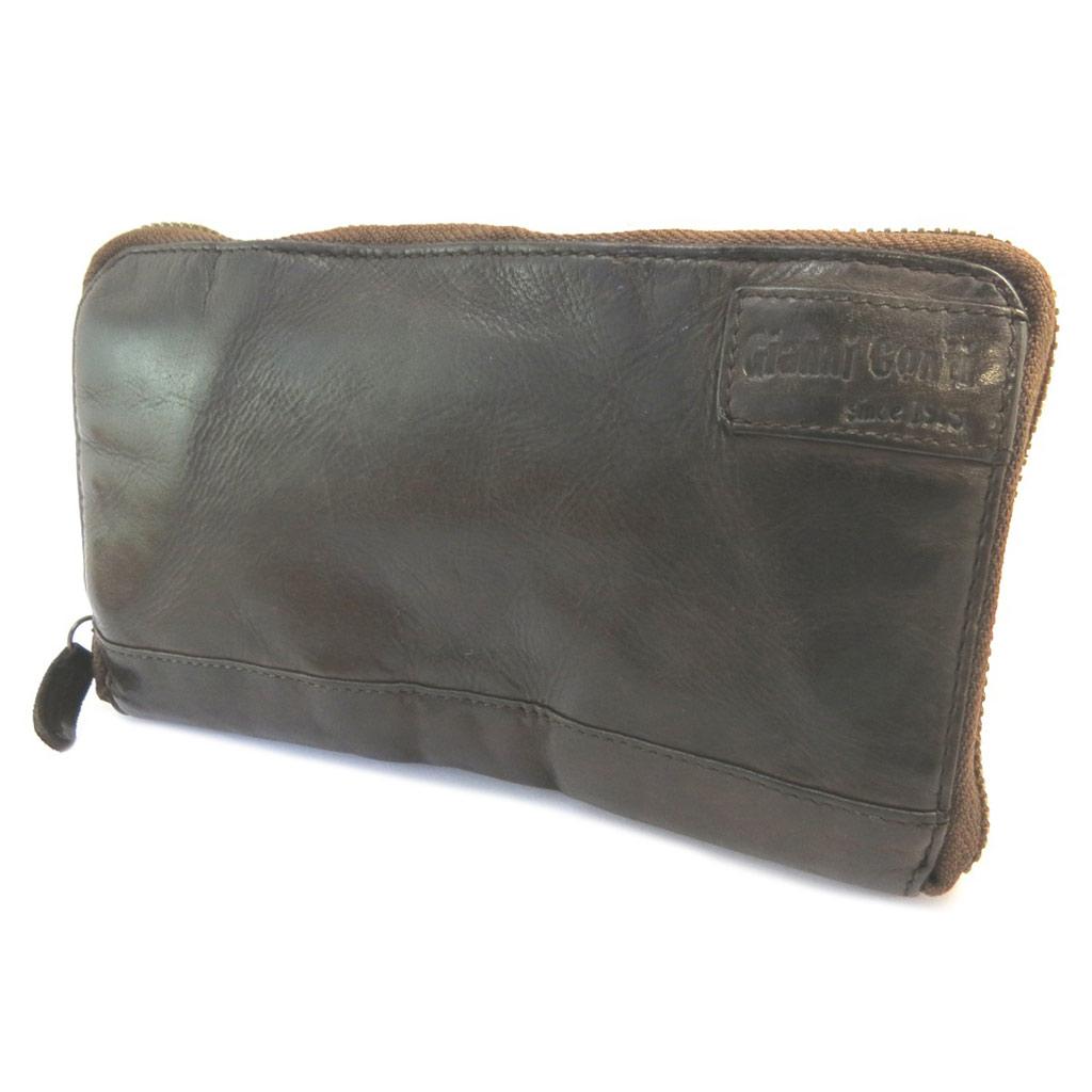 Compagnon zippé cuir \'Gianni Conti\' marron foncé vintage - 185x105x2 cm - [P3020]