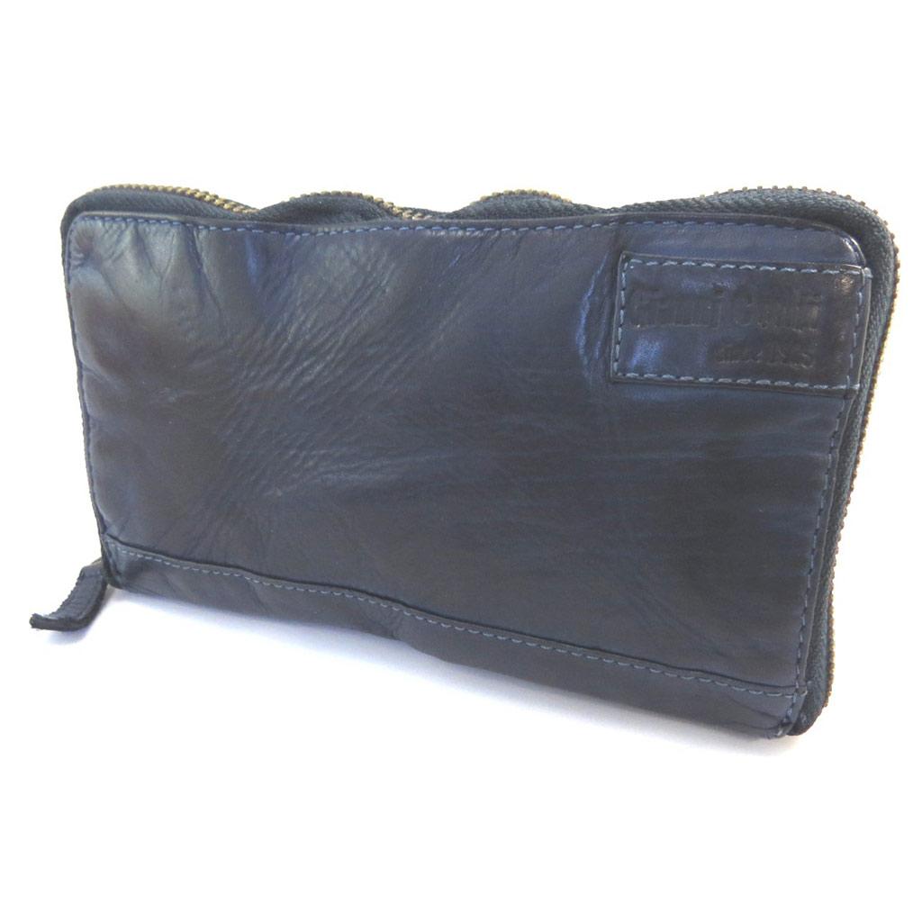 Compagnon zippé cuir \'Gianni Conti\' marine vintage - 185x105x2 cm - [P3022]