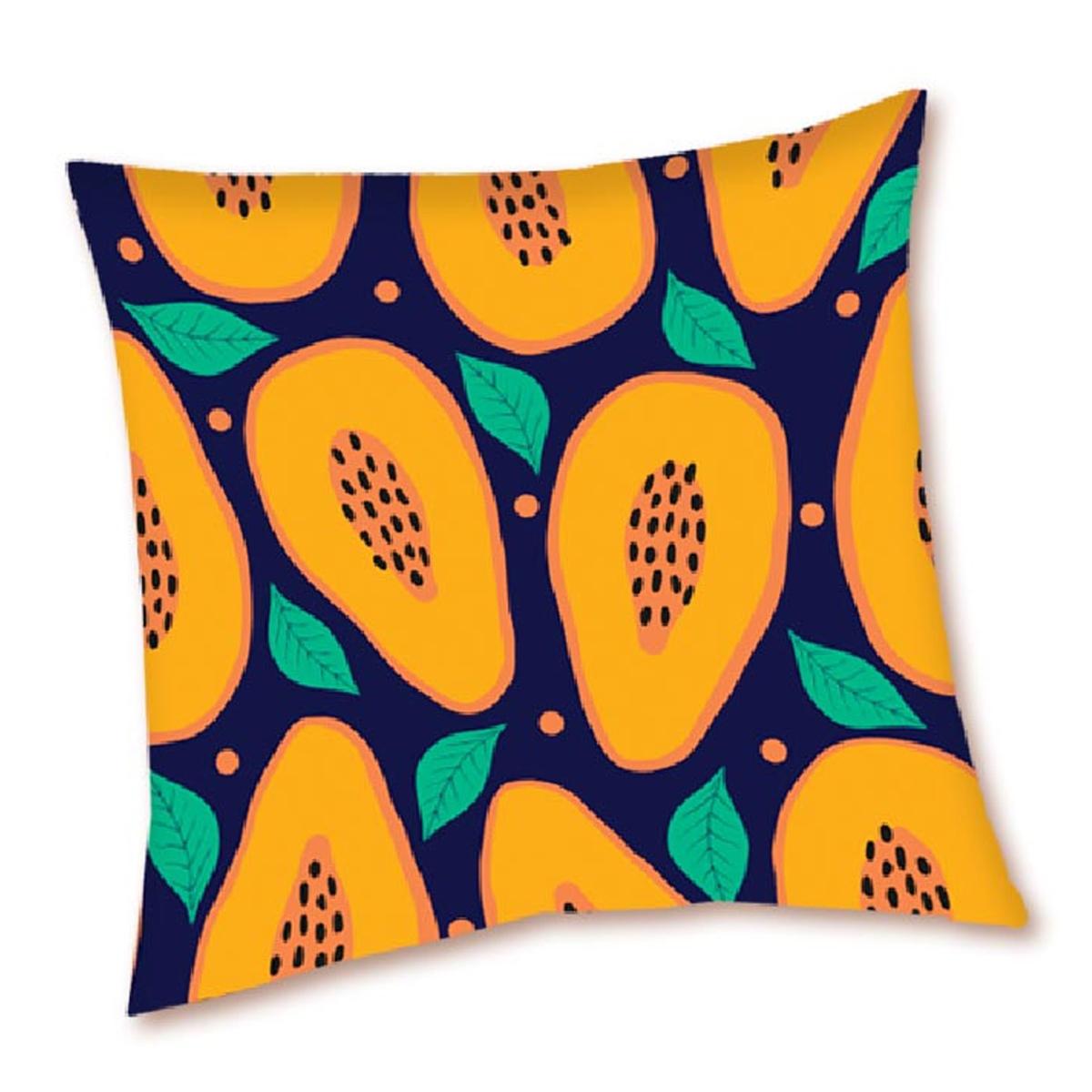Housse de coussin créateur \'Papaye\' orange noir - 40x40 cm - [Q5500]