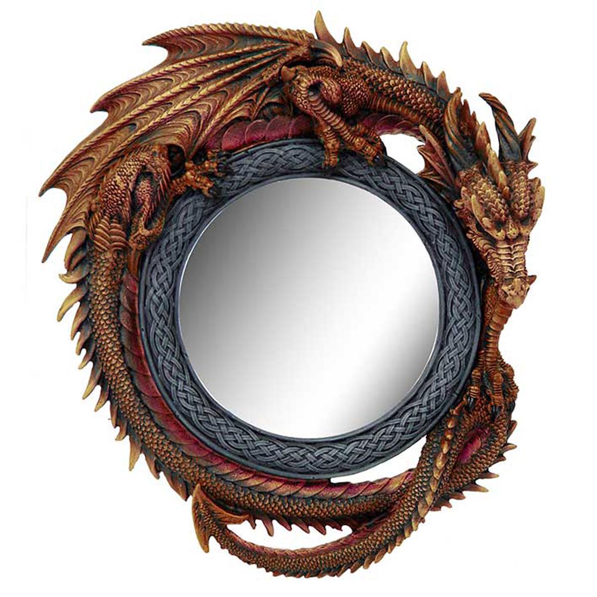 Miroir résine \'Dragon Mystique\' marron gris - 30 cm - [A0938]