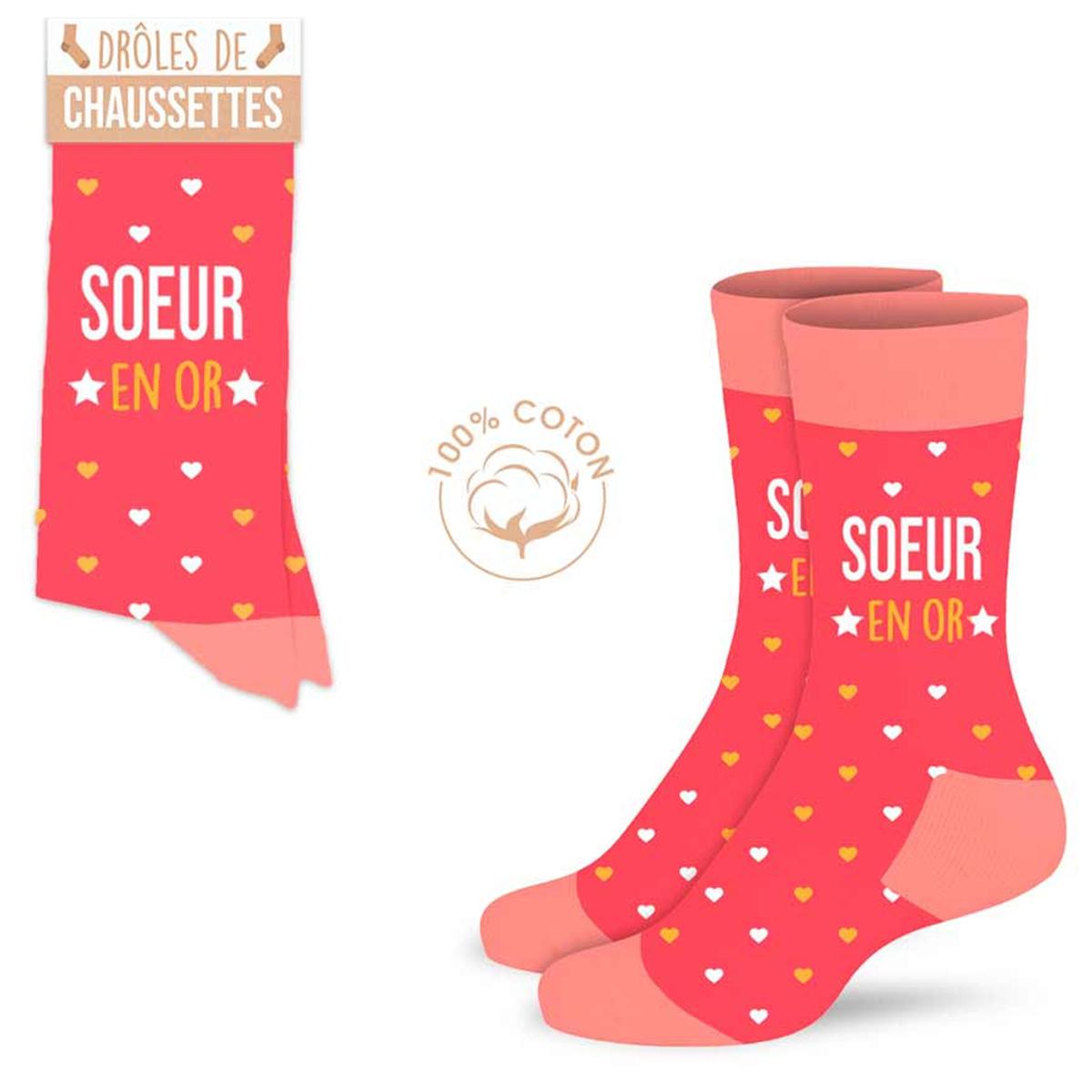 Chaussettes coton tendresse \'Soeur en Or\' corail - taille unique - [A0988]