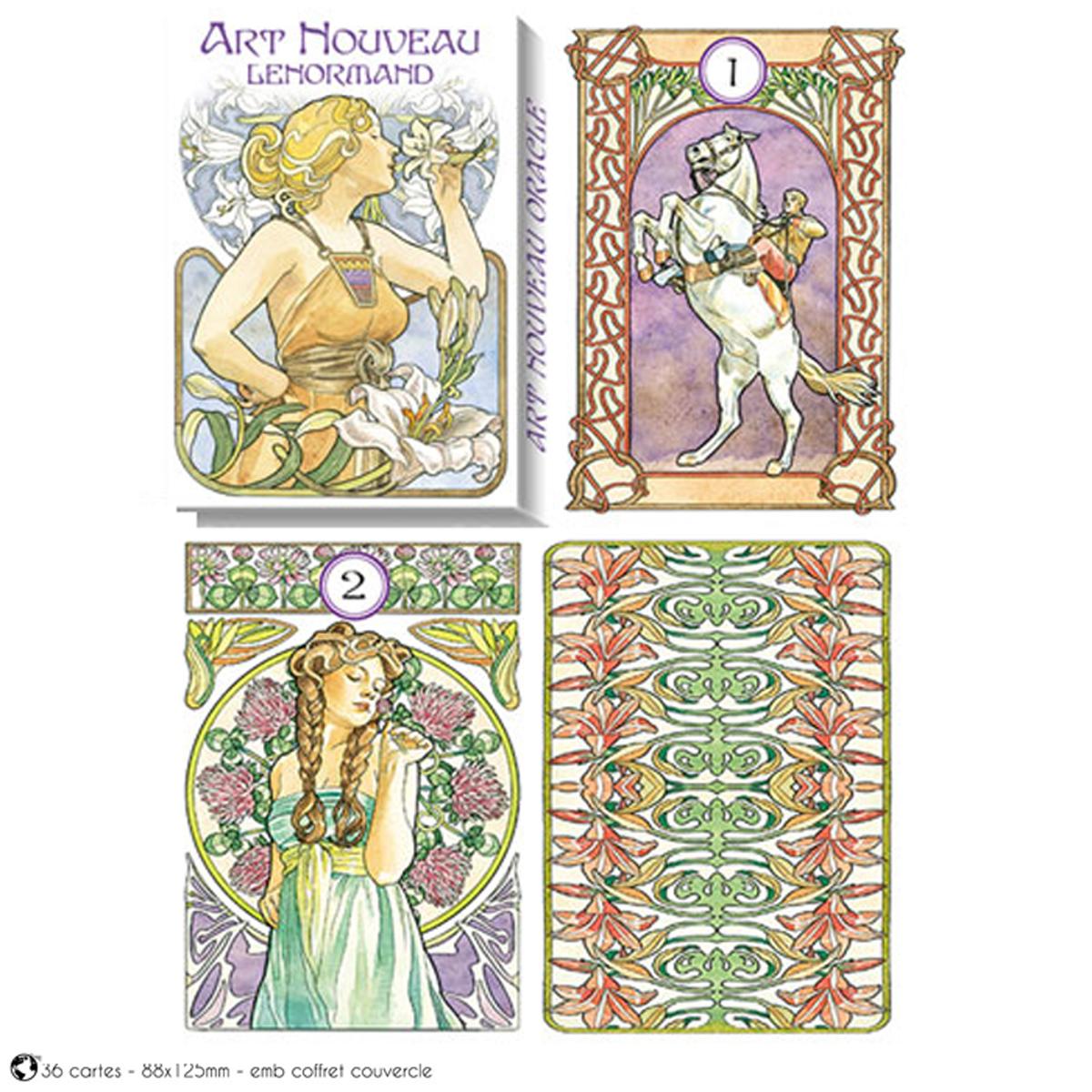 Jeu de cartes d\'inspiration \'Art Nouveau Lenormand\' (oracles) - 135x10x3 cm - [A1008]