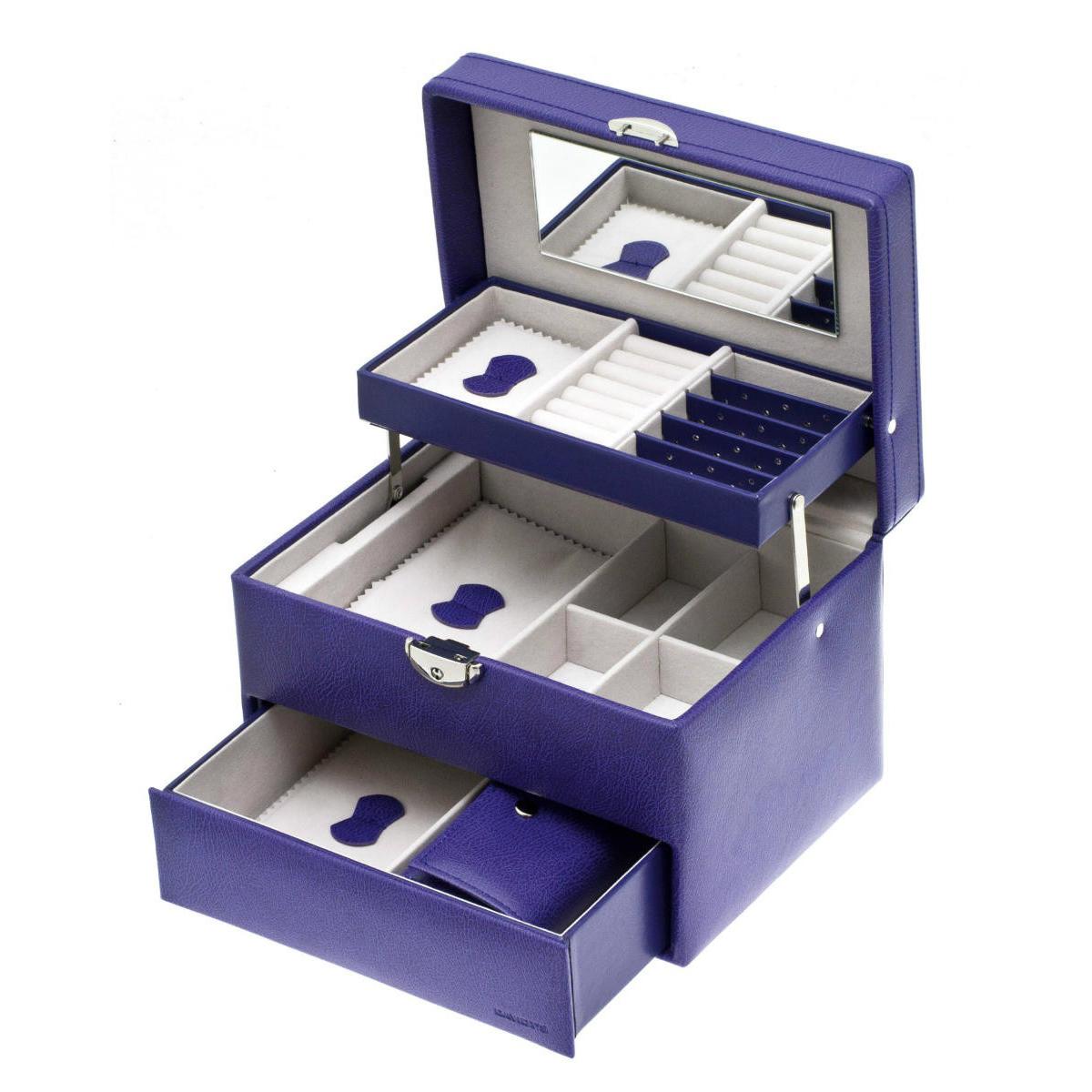 Coffret à Bijoux \'Active Woman\' violet - 21x16x15 cm - [K3881]