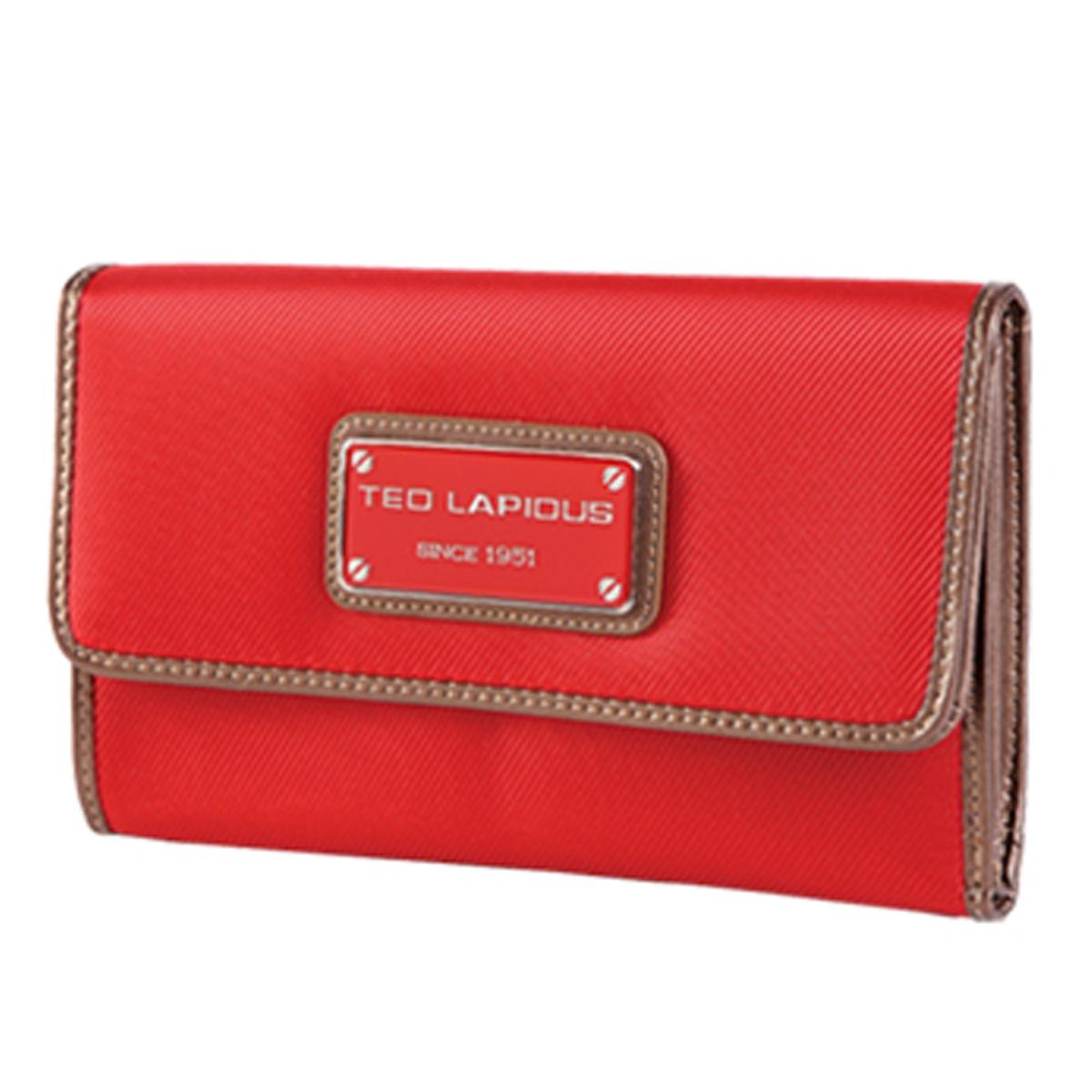 Grand Portefeuille Porte-monnaie \'Ted Lapidus\' rouge - 19x12x3 cm - [K5725]