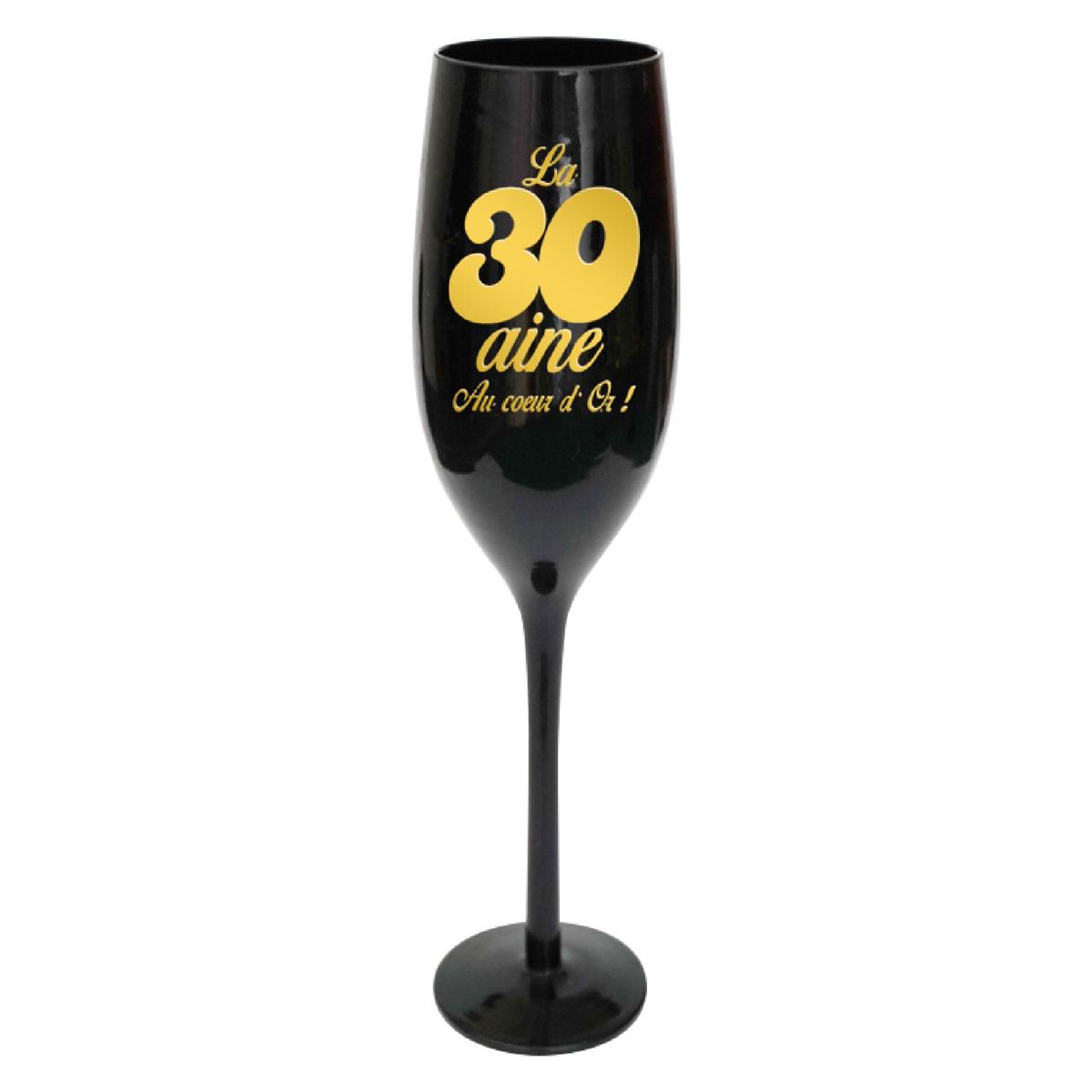 Coupe flute à champagne \'30 ans\' noir doré - 24 cm - [N4104]