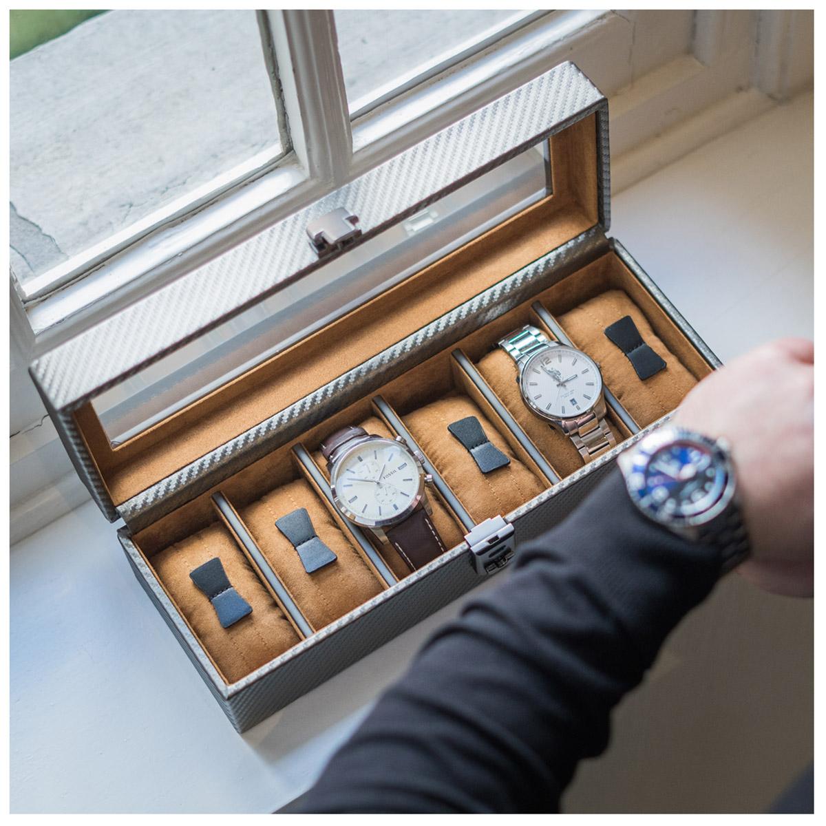 Coffret à montres \'Graphite Design\' gris anthracite (6 montres) - 335x11x85 cm - [P1406]