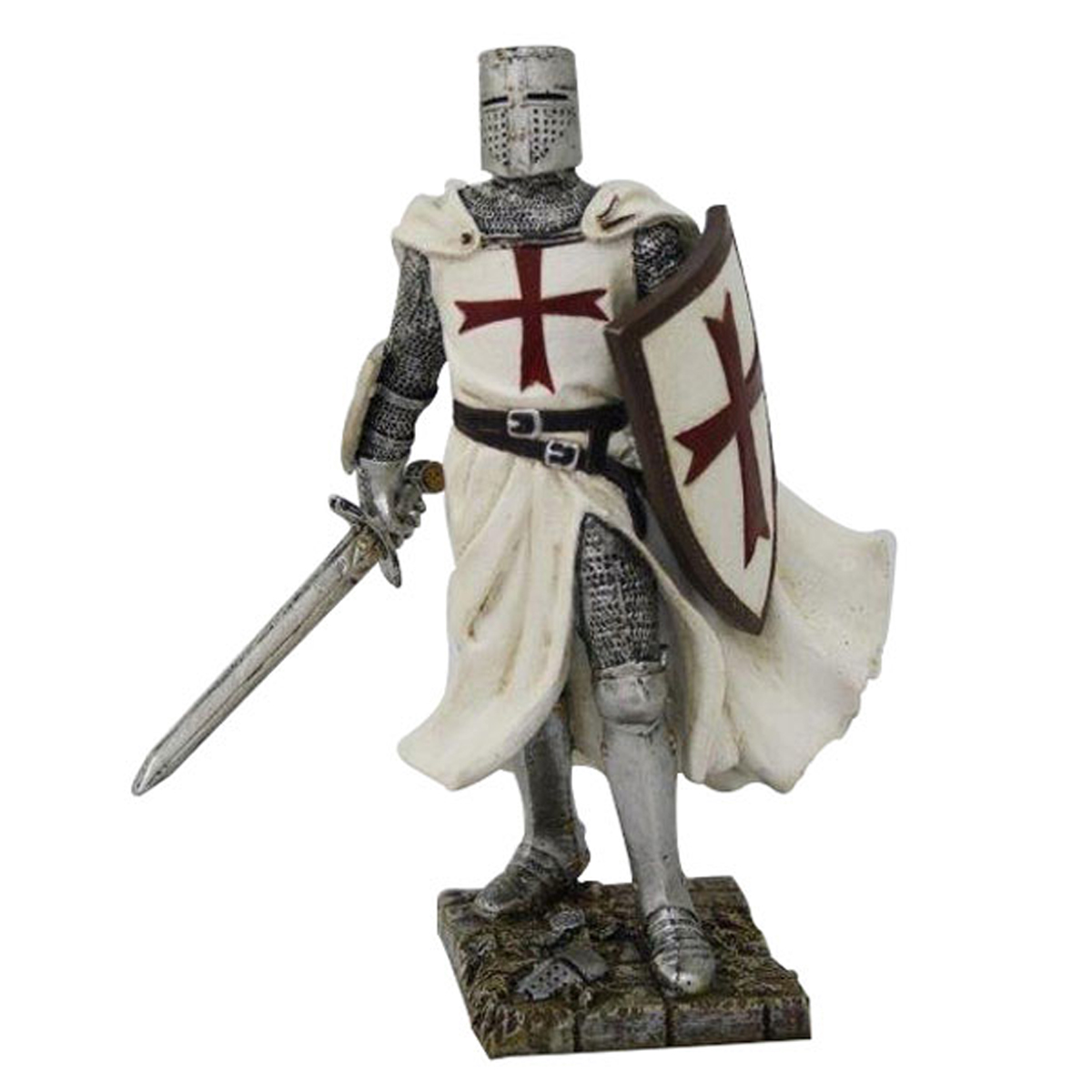 Figurine \'Chevalier Templier Croisé\' blanc gris - 18 cm - [R2790]