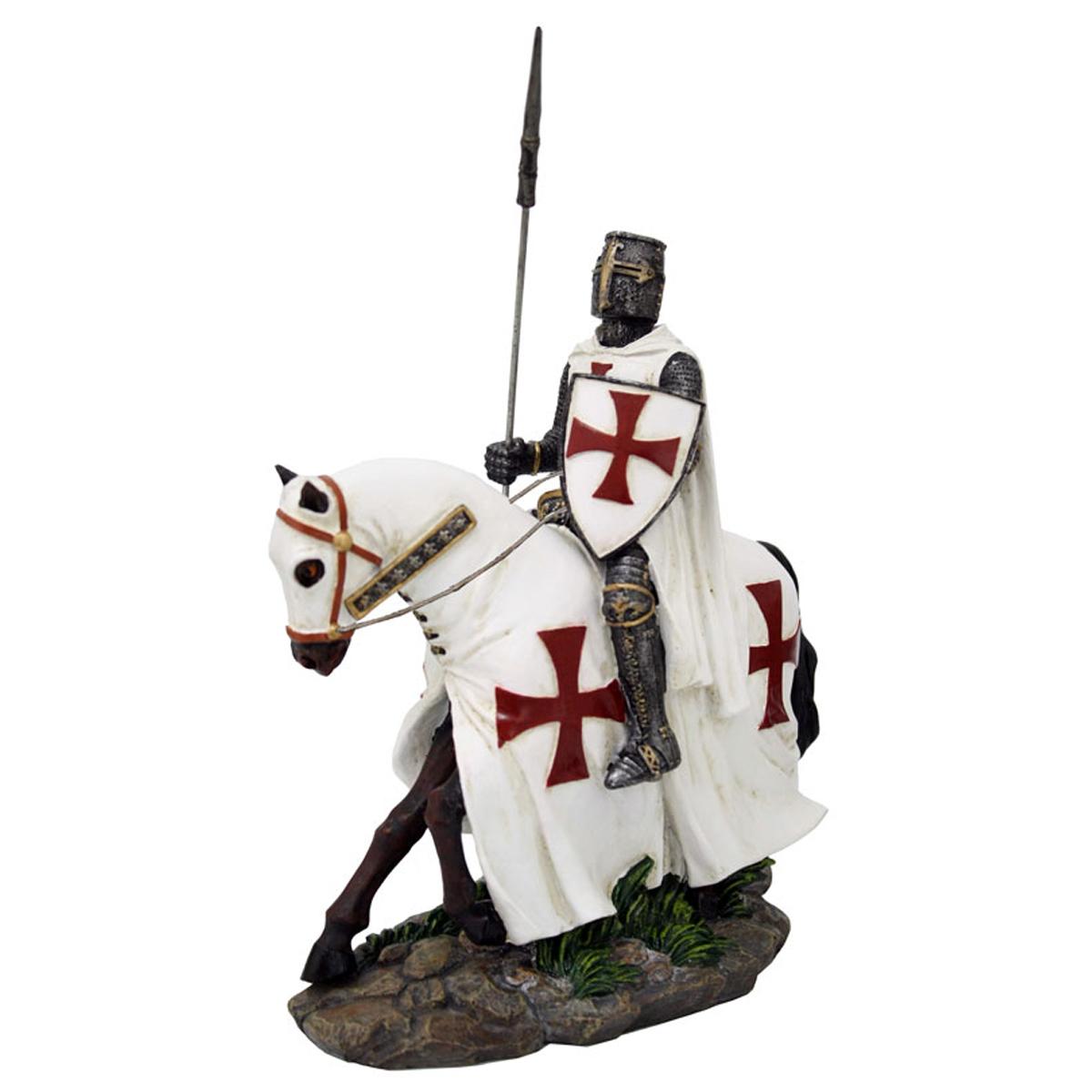 Figurine \'Chevalier Templier XVème Siècle\' blanc gris rouge - 17 cm - [R2793]