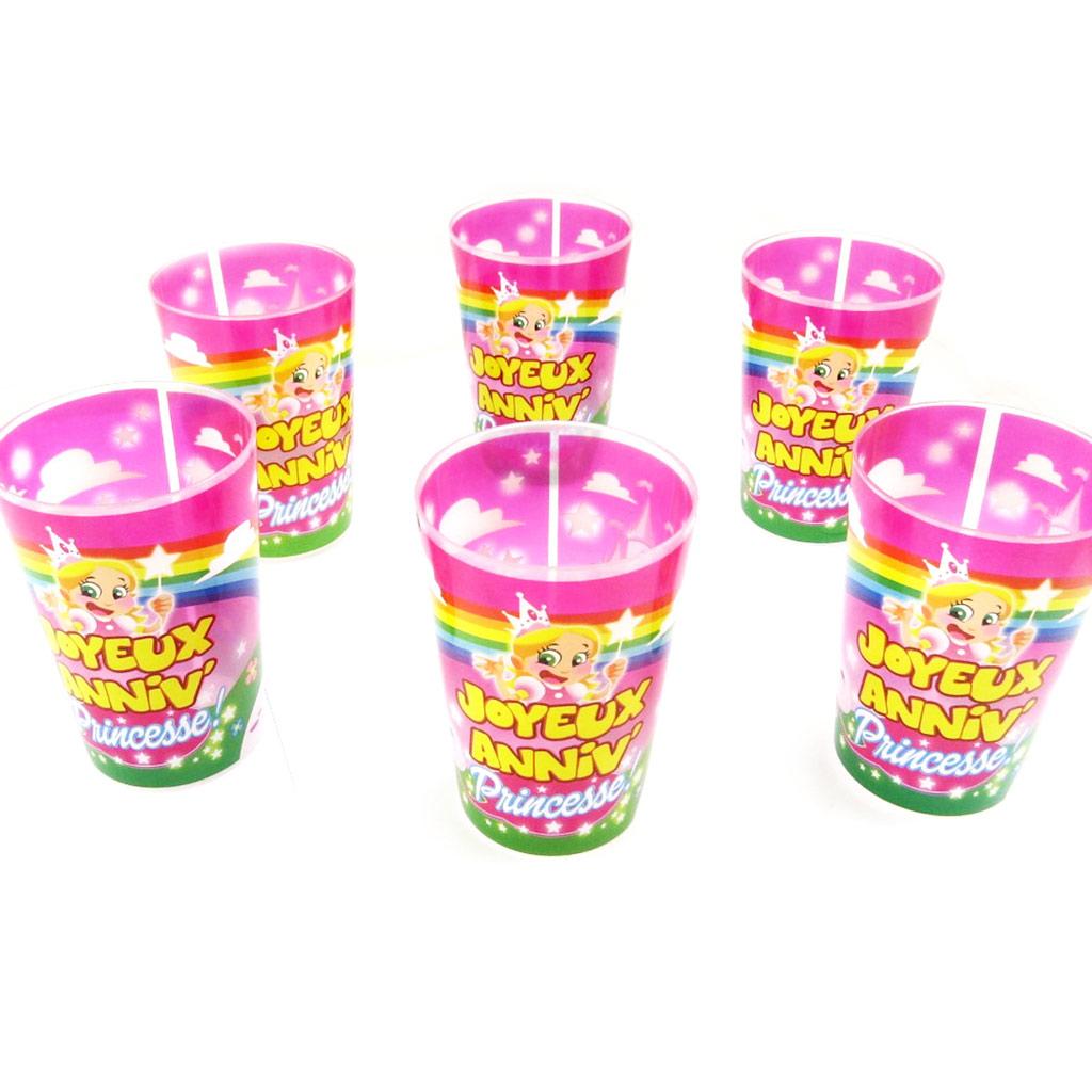 Set de 6 verres humoristiques \'Joyeux Anniv !\' princesse - 25 cl - [L5488]