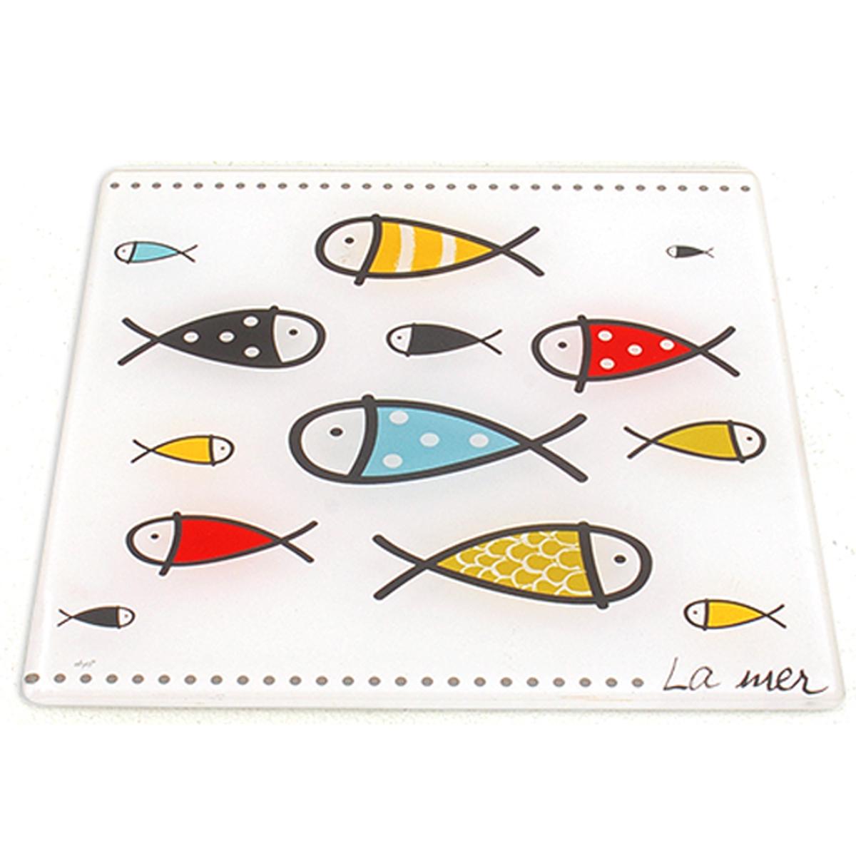 Dessous de plat verre \'Poissons - La mer\' multicolore blanc - 20x20 cm - [A0231]