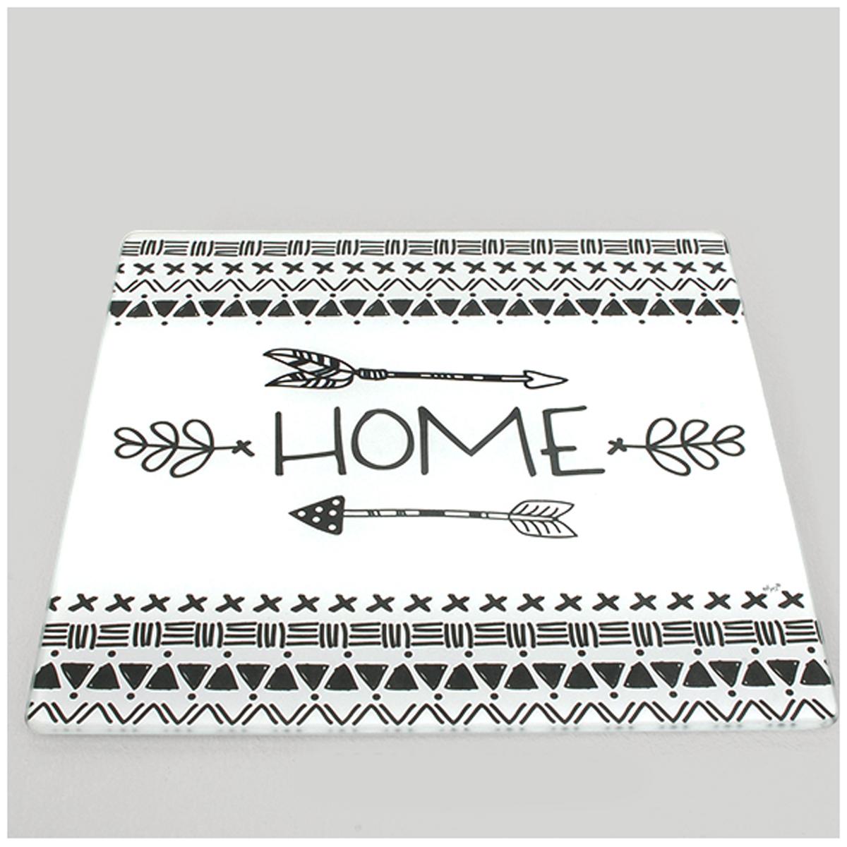 Dessous de plat verre \'Home\' noir blanc - 20x20 cm - [A0232]