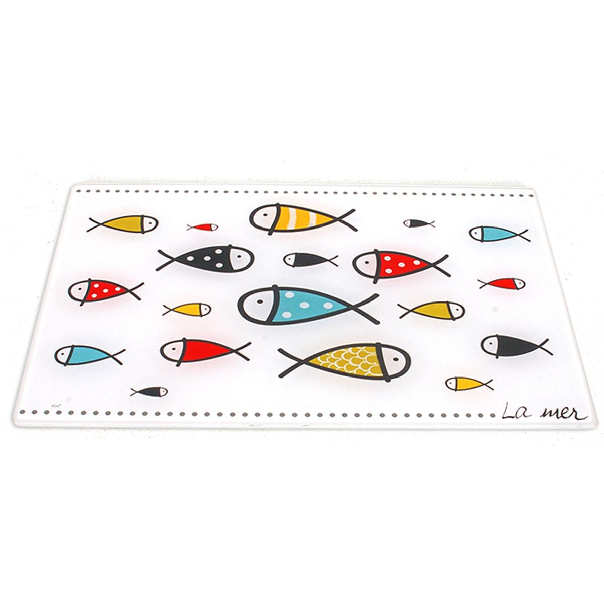 Planche à découpe / dessous de plat verre  \'Poissons - La mer\' multicolore blanc - 30x20 cm - [A0241]