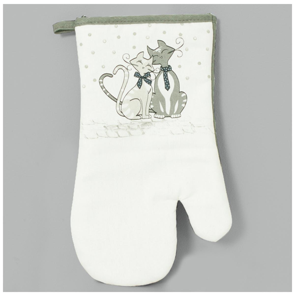Gant de cuisine \'Chats\' gris blanc - 28x14 cm - [A0246]