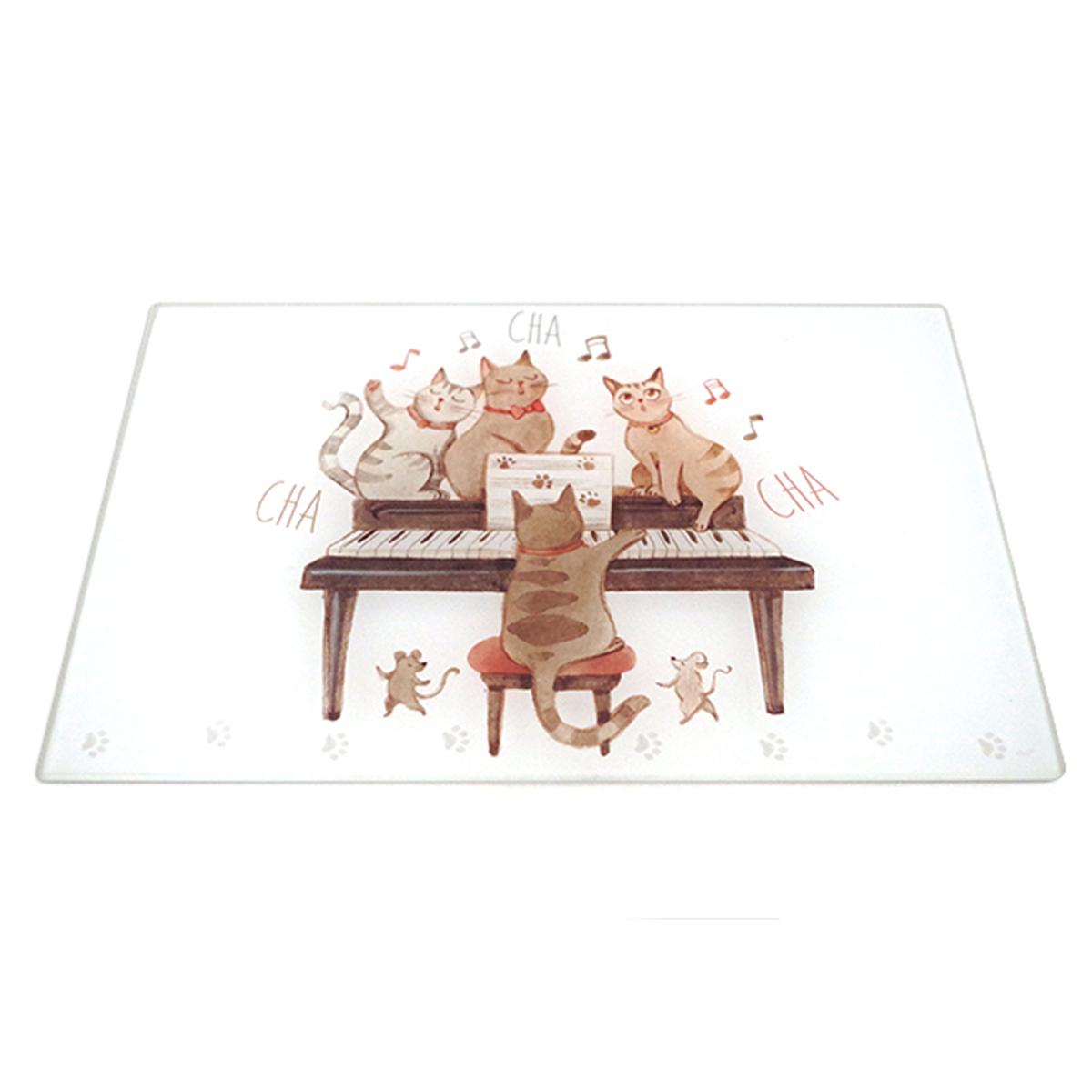 Planche à découpe / dessous de plat verre  \'Chats\' marron blanc (musiciens) - 30x20 cm - [A0254]
