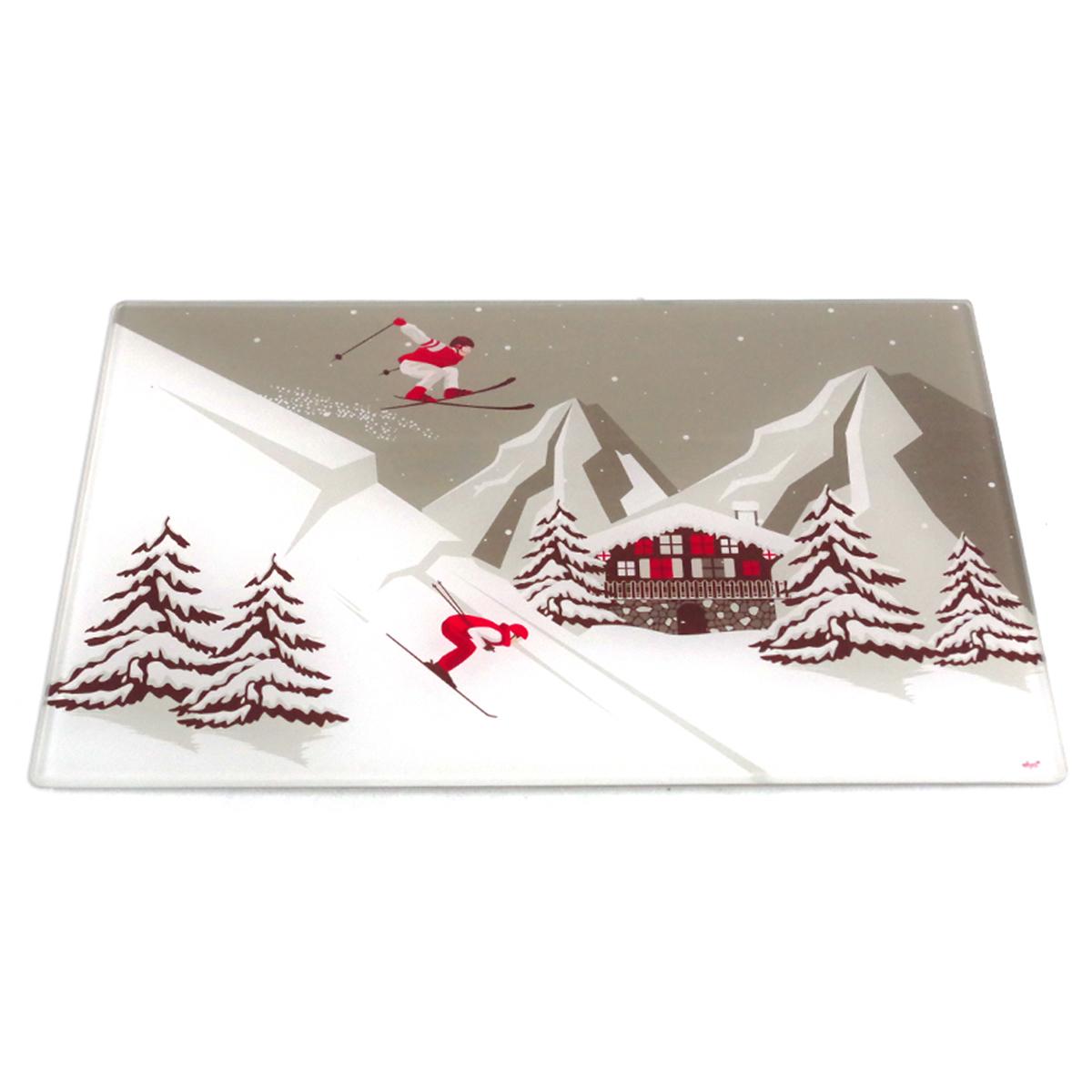 Planche à découpe / dessous de plat verre  \'Montagne\' gris blanc rouge (ski) - 30x20 cm - [A1100]