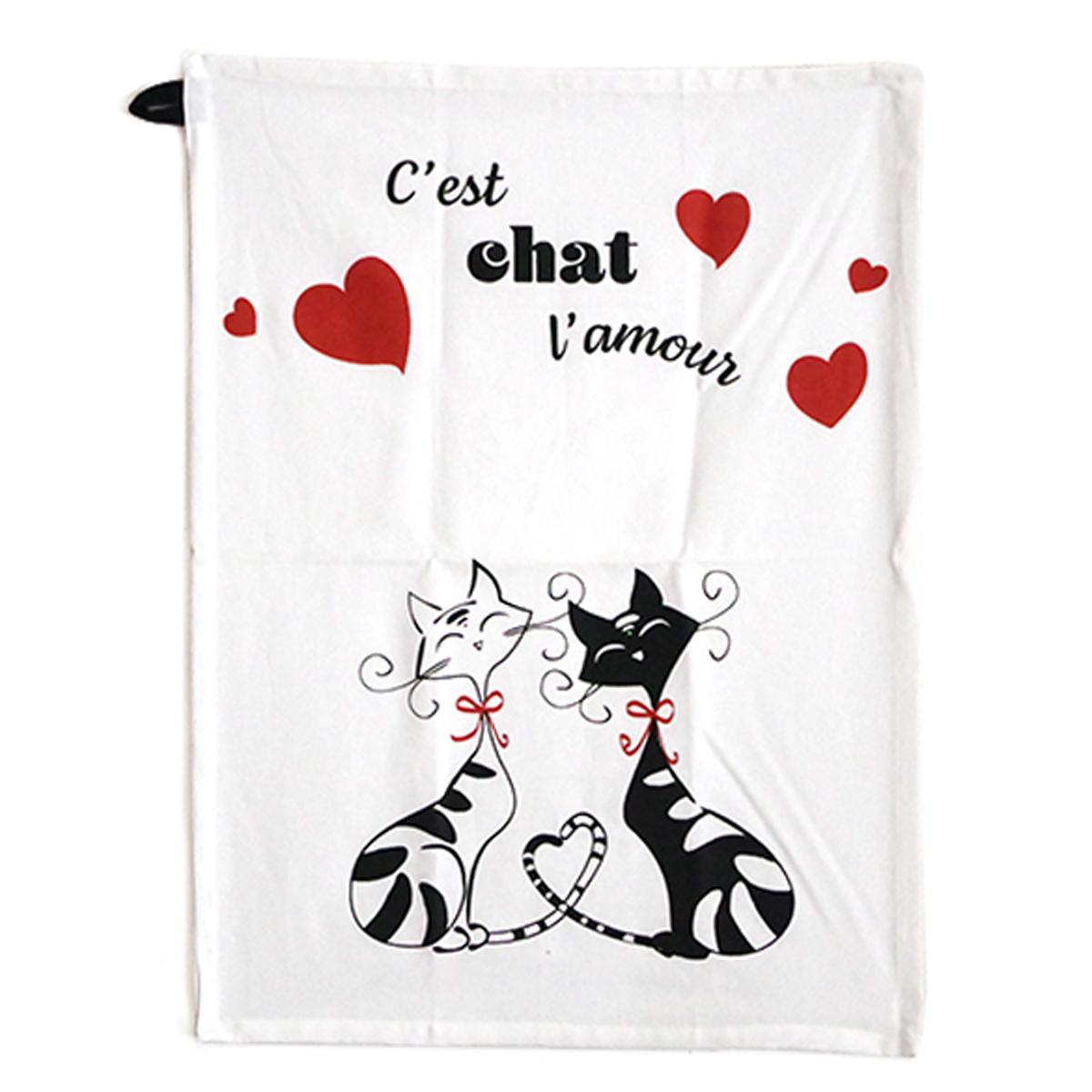Torchon coton \'Chats\' rouge blanc noir (C\'est Chat l\'amour) - 60x45 cm - [A1115]