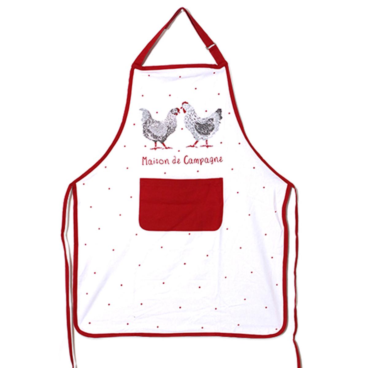 Tablier de cuisine coton \'Poules\' rouge blanc (Maison de Campagne) - 90x70 cm - [A1118]