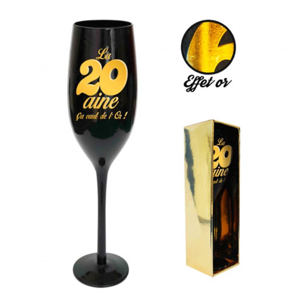 Coupe flute à champagne \'20 ans\' noir doré - 24 cm - [N2735]