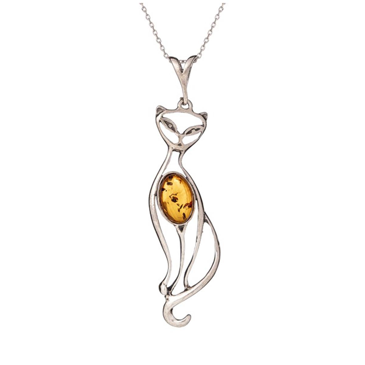 Pendentif Argent \'Chat Inspiration\' ambre argenté (rhodié) - 55x15 mm - [R3825]