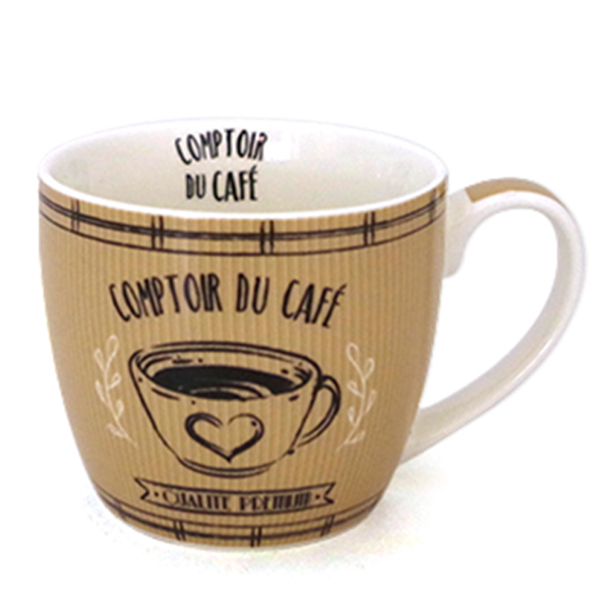 Mug porcelaine \'Comptoir du Café\' marron - 10x85 cm (38 cl) - [A0265]