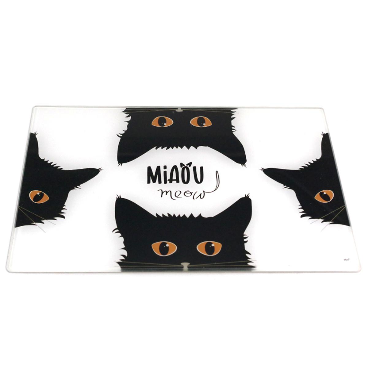 Planche à découpe / dessous de plat verre  \'Chats\' noir blanc (Miaou) - 30x20 cm - [A1101]