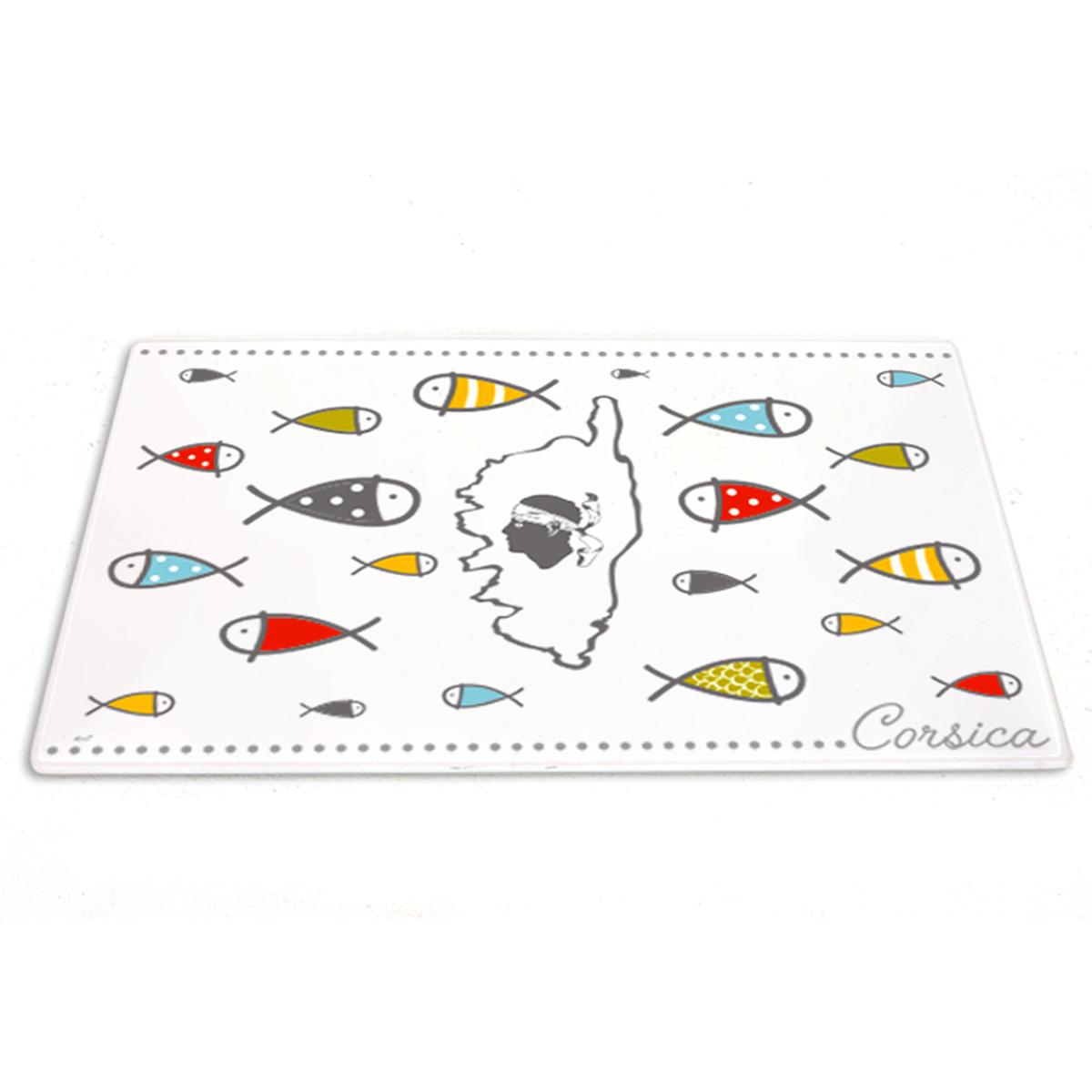 Planche à découpe / dessous de plat verre  \'Corsica\' multicolore blanc (poissons) - 30x20 cm - [A1103]