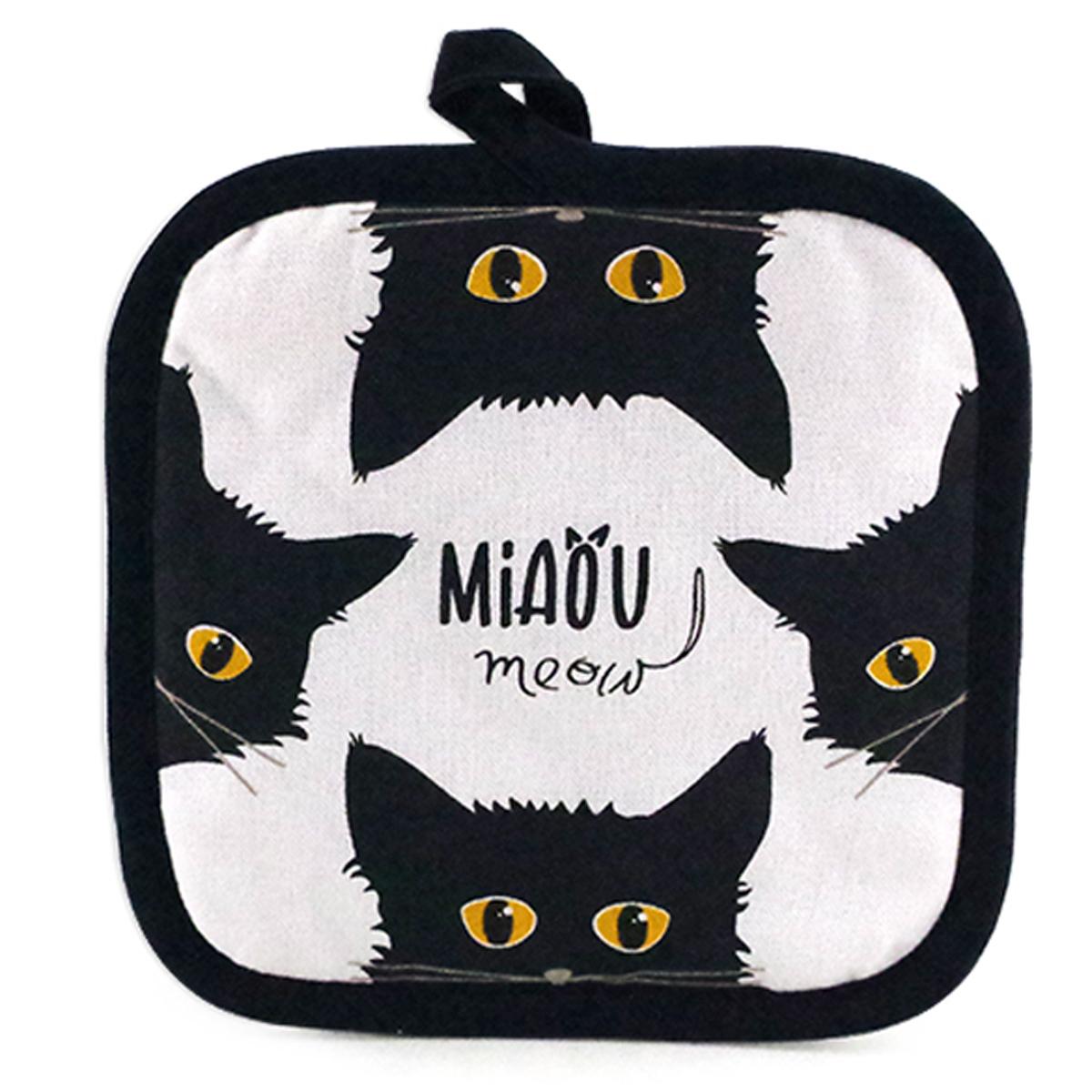 Manique coton \'Chats\' noir blanc (Miaou) - 20x20 cm - [A1109]