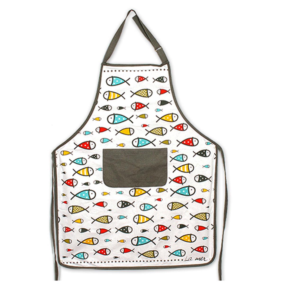 Tablier de cuisine coton \'Poissons - La mer\' multicolore - 90x70 cm - [A1120]