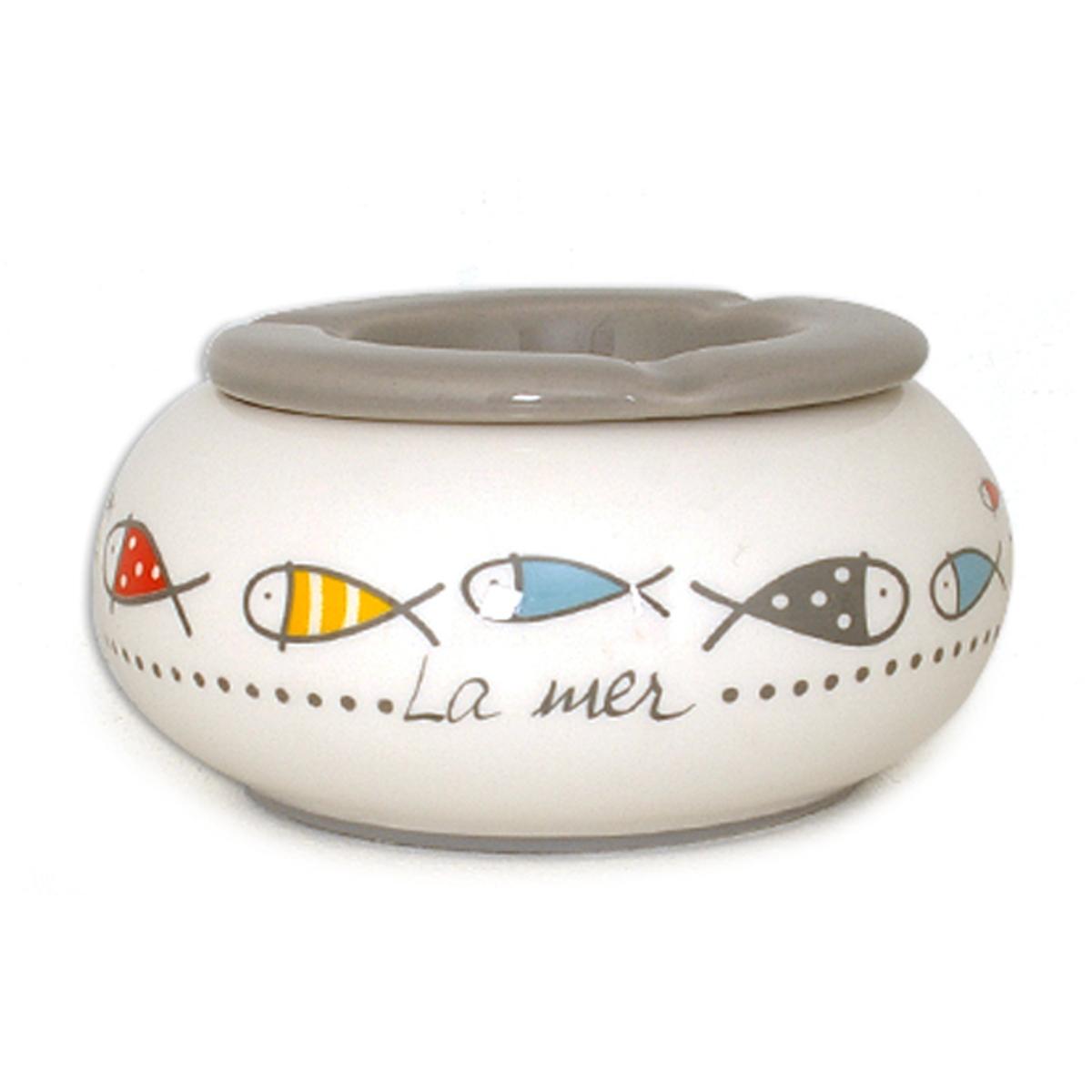 Cendrier marocain céramique \'Poisssons - La Mer\' multicolore - 15x8 cm - [A1130]
