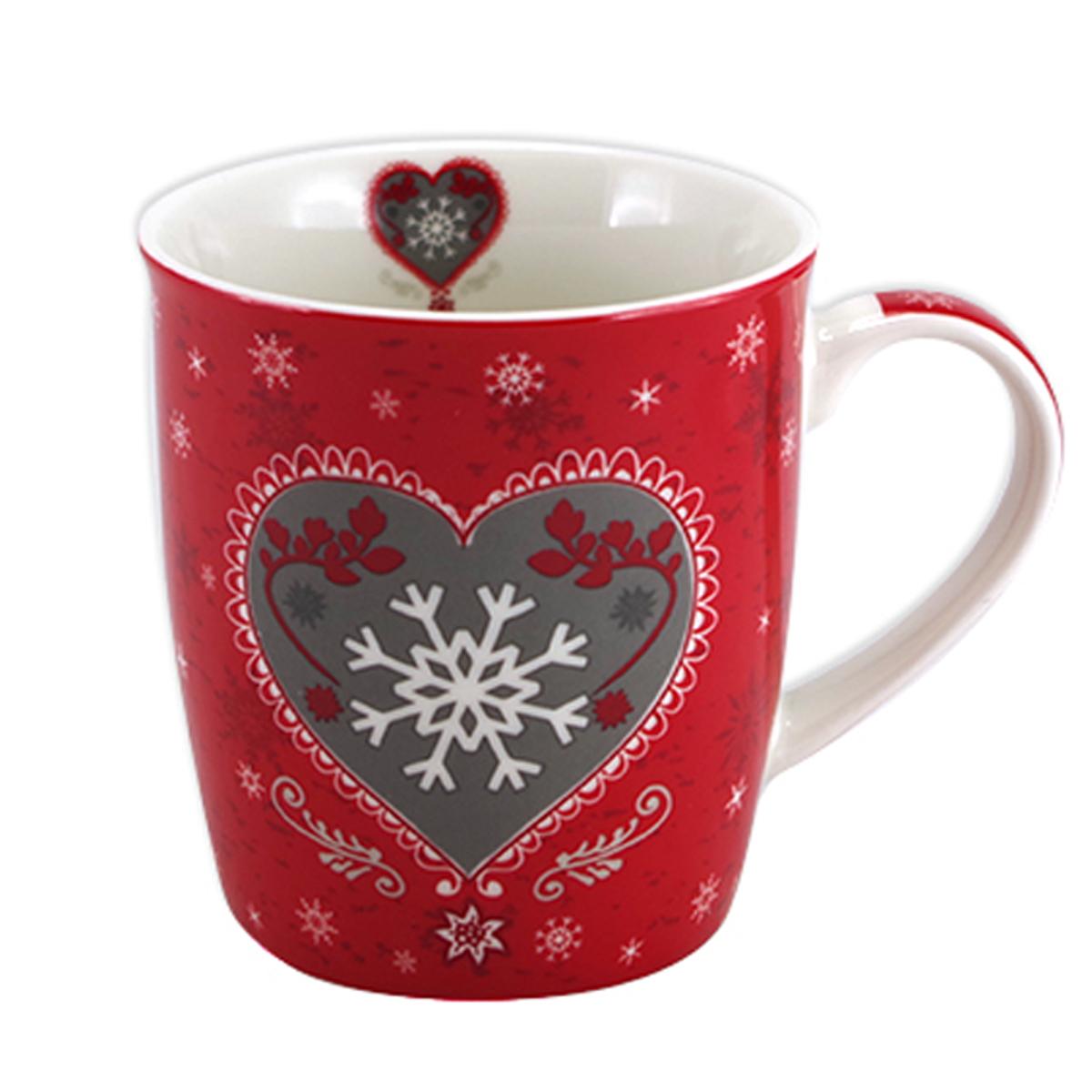 Mug porcelaine \'Chalet\' rouge taupe (flocon d\'amour) - 95x85 cm (325 cl) - [A1137]