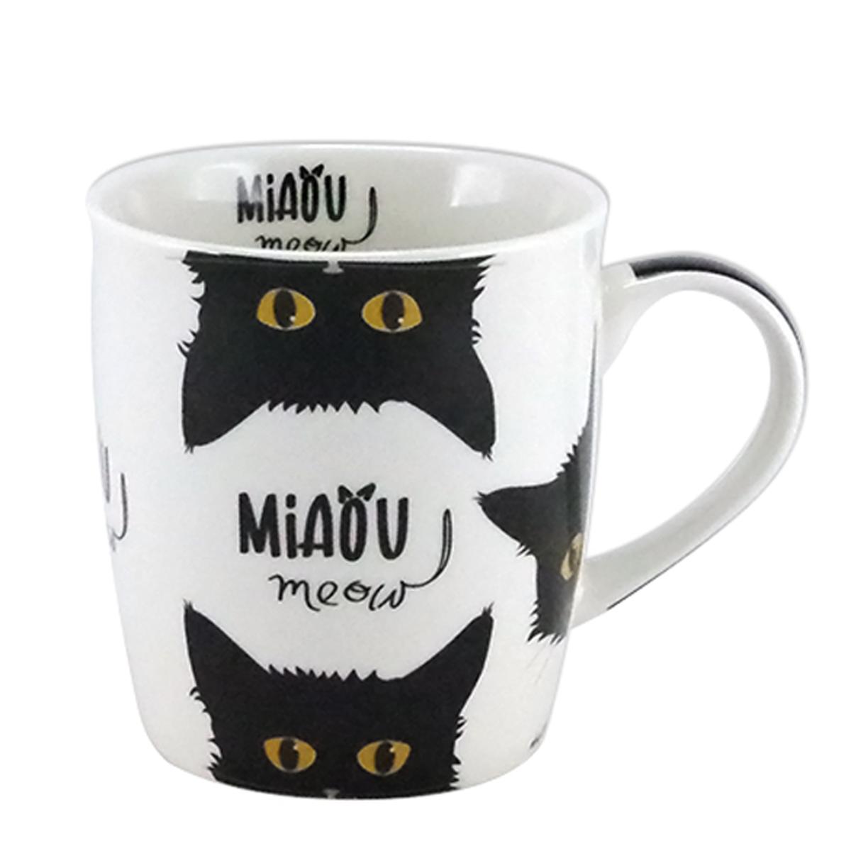 Mug porcelaine \'Chats\' noir blanc (Miaou) - 95x85 cm (325 cl) - [A1140]