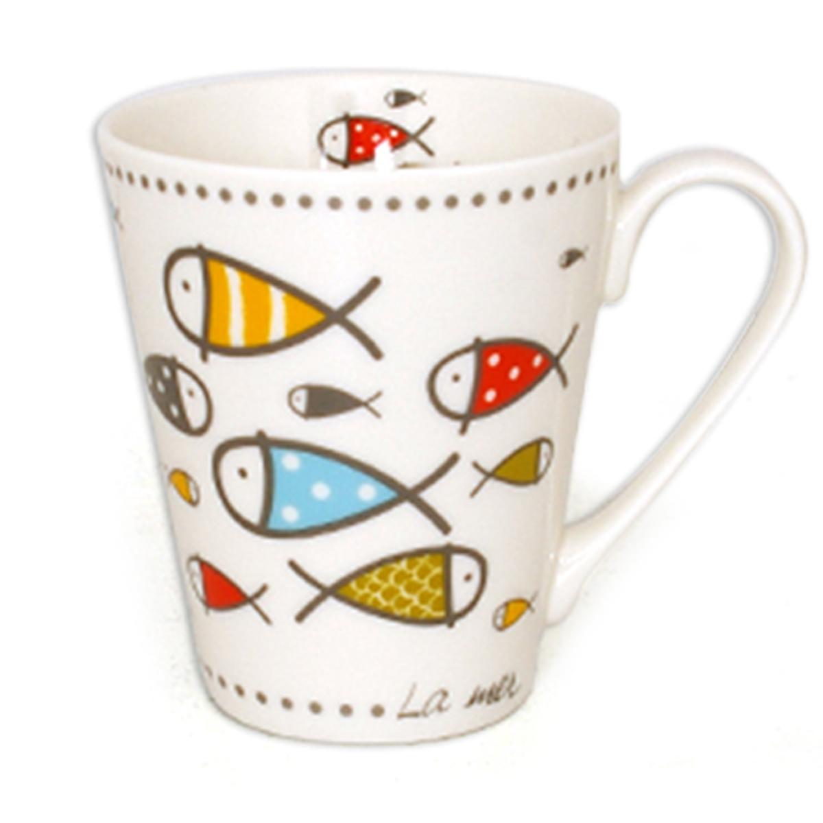 Mug porcelaine \'Poissons - La mer\' multicolore - 10x85 cm (325 cl) - [A1141]