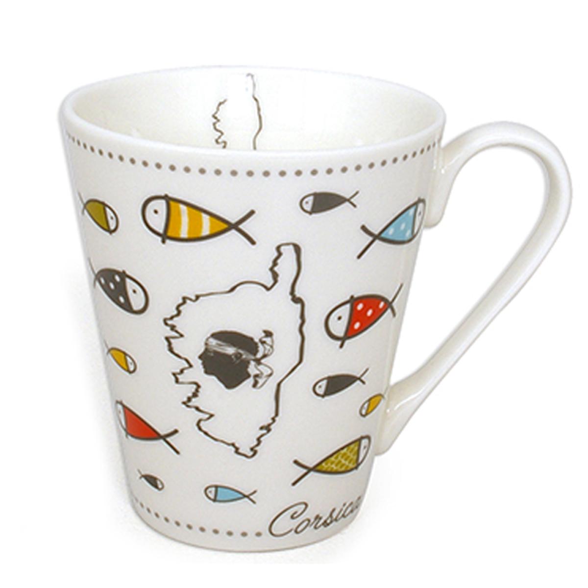 Mug porcelaine \'Corsica\' multicolore (poissons) - 10x85 cm (325 cl) - [A1142]