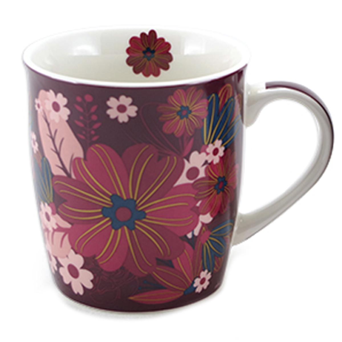Mug porcelaine \'Flower\' violet - 95x85 cm (325 cl) - [A1143]