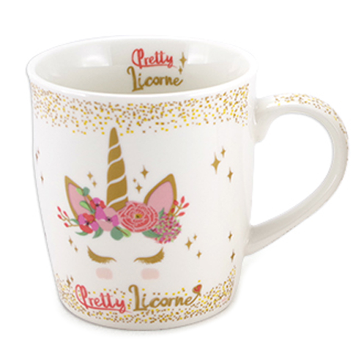 Mug porcelaine \'Licorne My Unicorn\' rose blanc - 95x85 cm (325 cl) - [A1144]