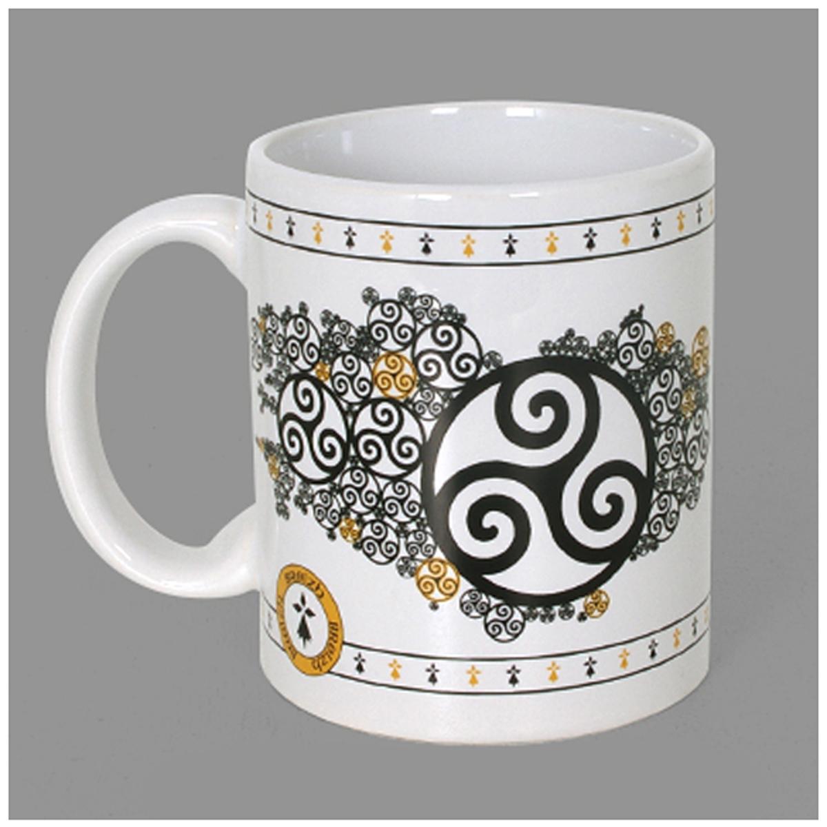 Mug céramique \'Triskel\' noir blanc - 95x8 cm - [A1145]