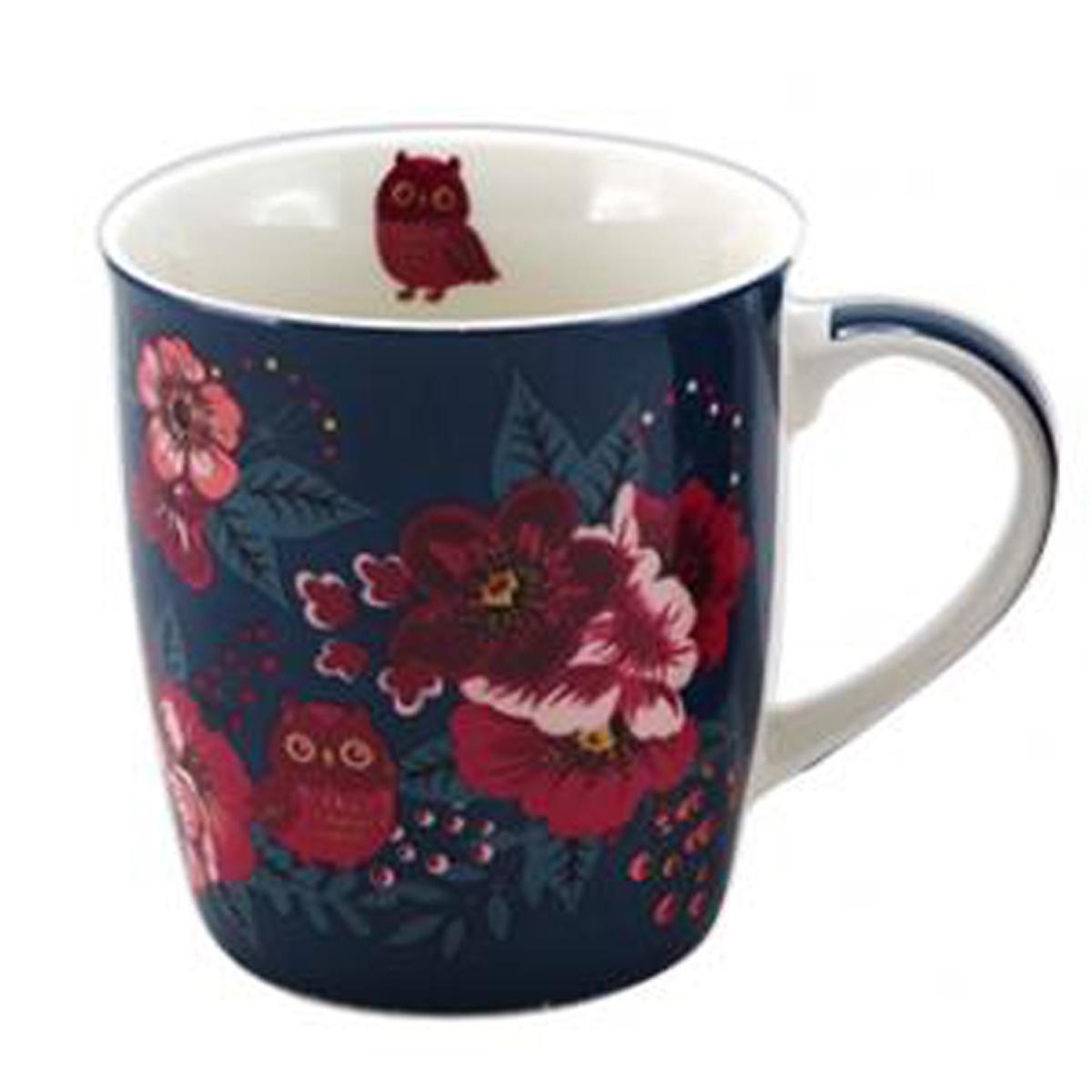 Mug porcelaine \'Flower\' bleu rose (chouette) - 95x85 cm (325 cl) - [A1153]