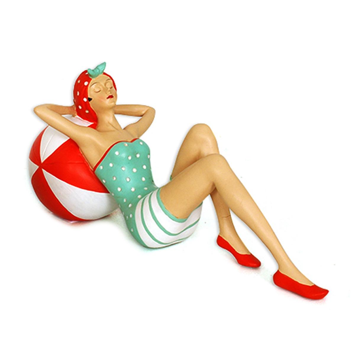 Figurine résine rétro \'Les Baigneuses\' vert rouge - 305x135x13 cm - [A1176]