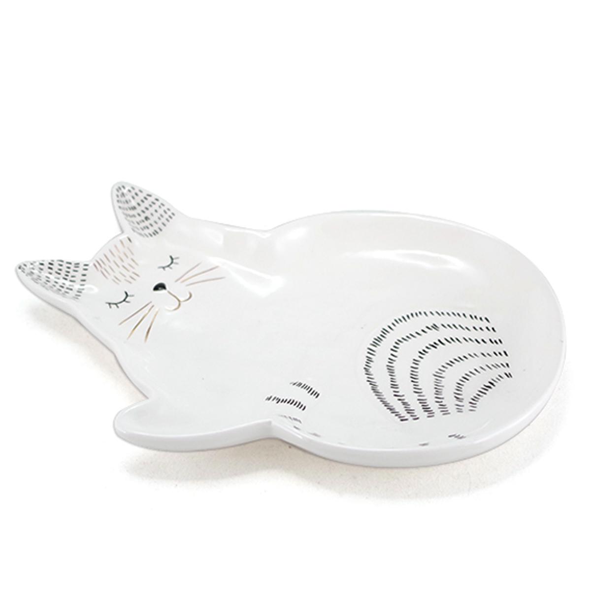 Vide-poches céramique \'Chats\' blanc - 245x165x25 cm - [A1182]