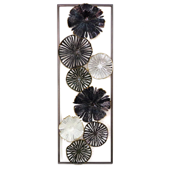 Décoration métal XXL \'Flower\' gris - 90x31 cm (relief) - [A1190]