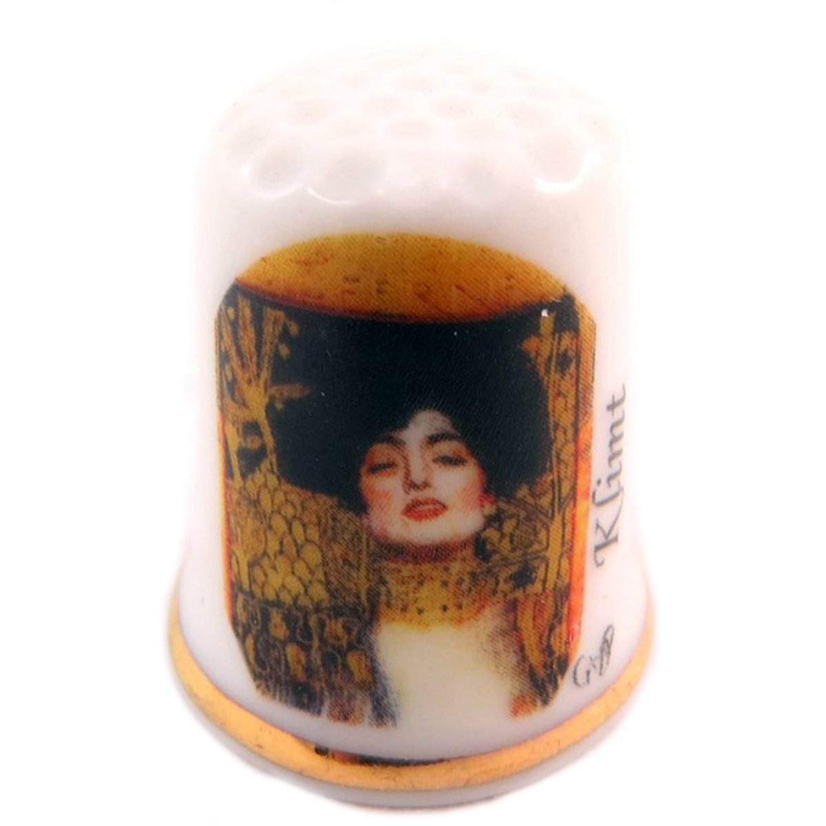 Dé à coudre \'Gustav Klimt\' multicolore (Judith) - 27x23 mm - [Q7466]